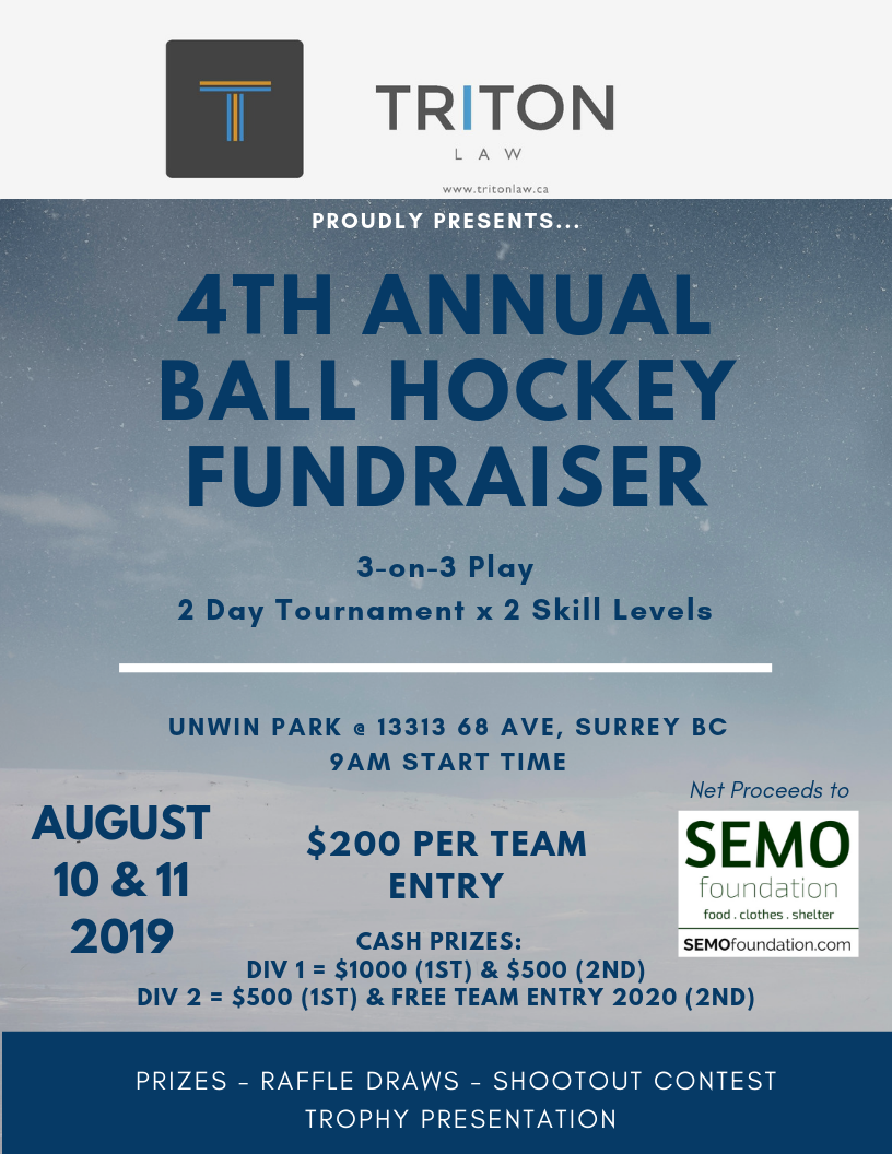 Almost here! - Join us in making this years tournament the BIGGEST yet.In 2018, we raised over $15k to benefit local Surrey charities and individuals in need.This year we add CASH prizes for winning teams in Division 1 and Division 2.Oh yeah, there's a beauty TROPHY presentations also!