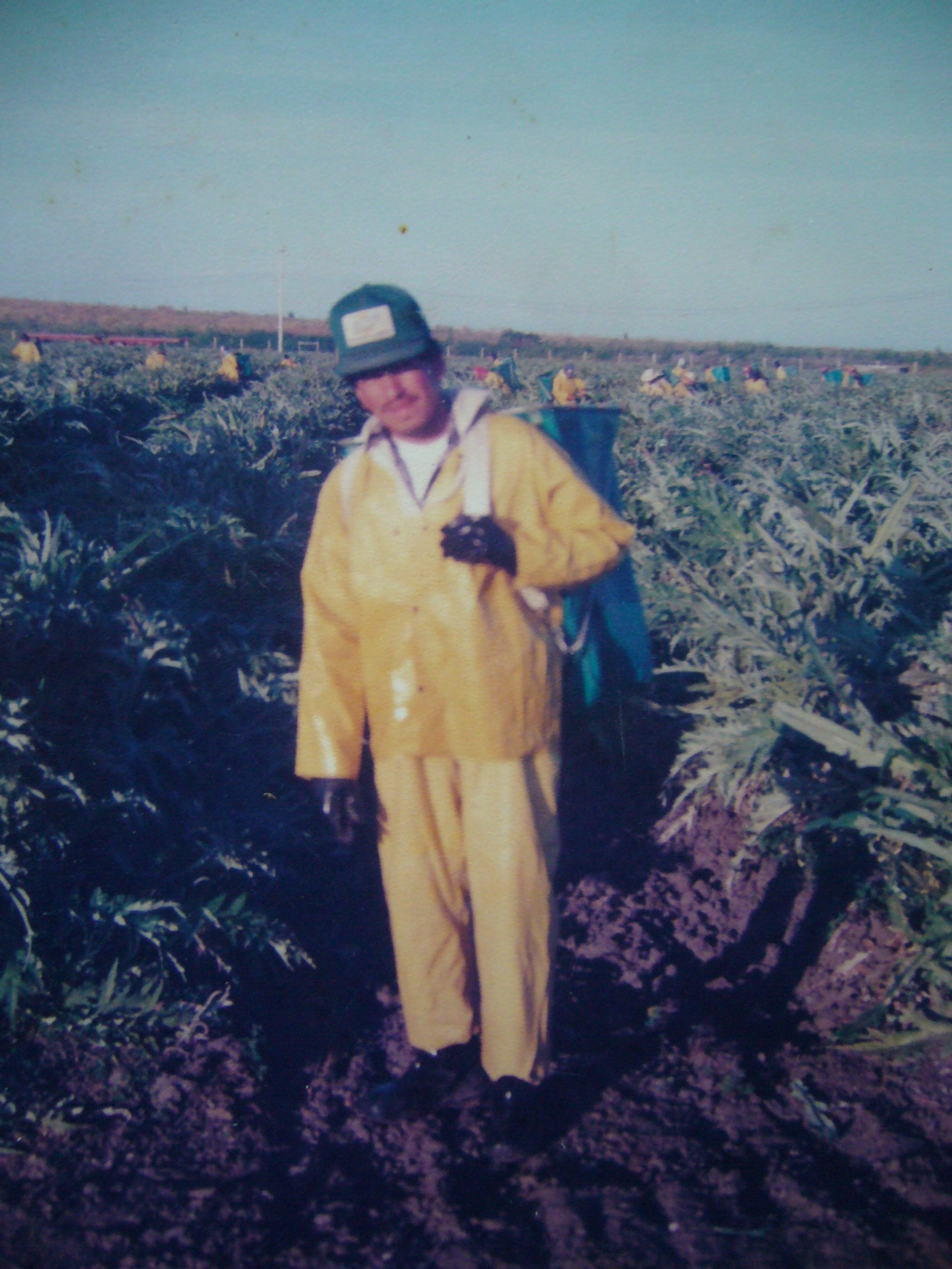 Josue's father at work in the fields.