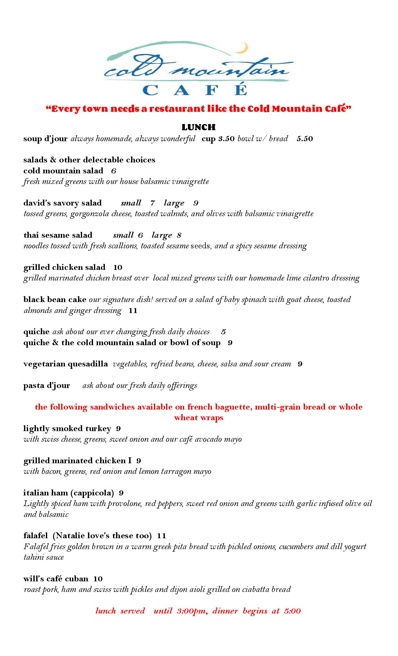 cold mountain cafe lunch menu
