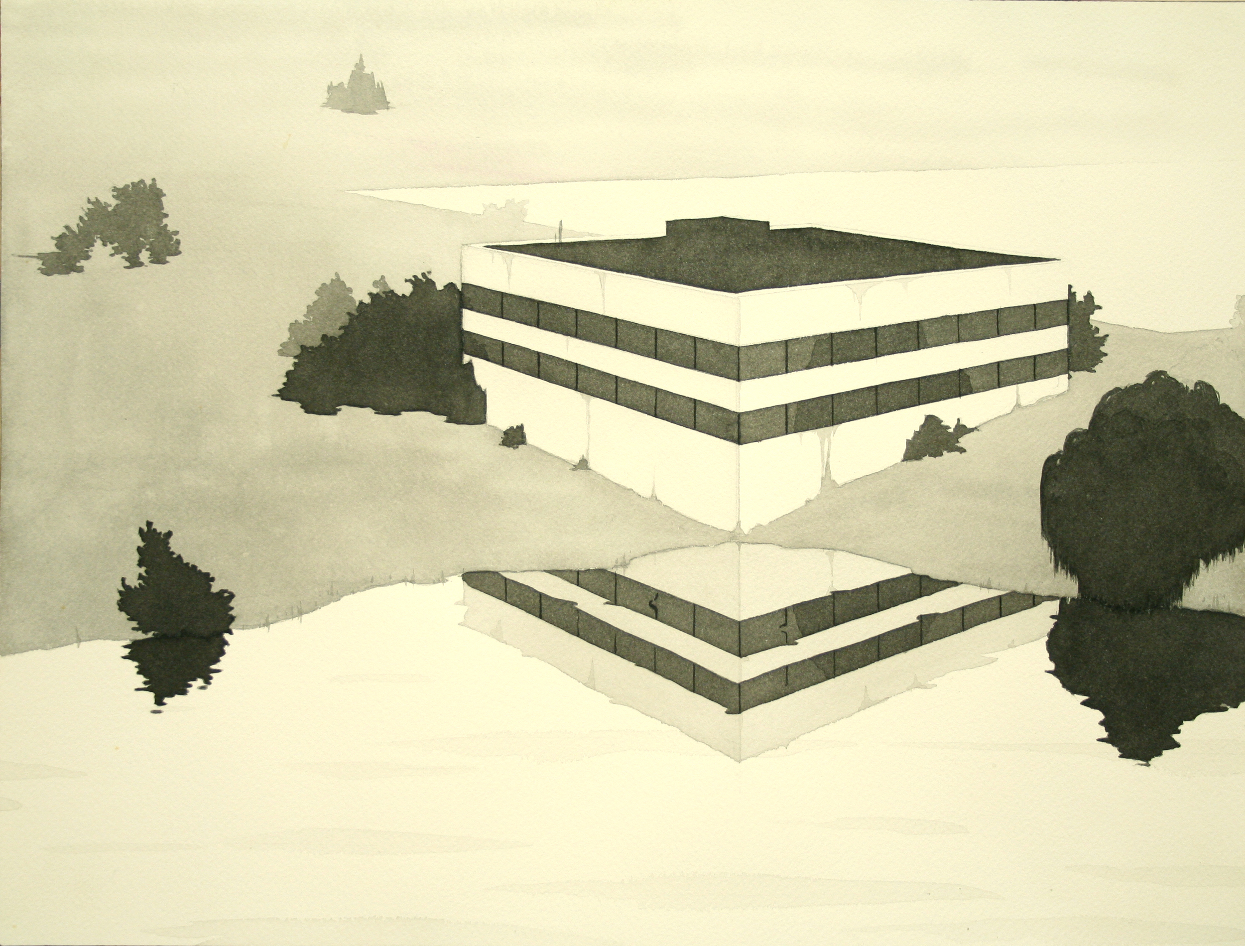 Chris Ballantyne   Office Park (Reflection),  2011 india ink on paper 12 x 16 in