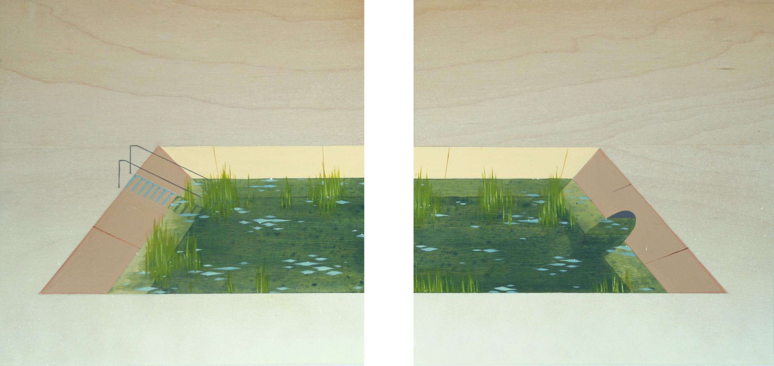 Chris Ballantyne   Pond  (dyptich) 2014 acrylic on panel 10 x 10 in (each)