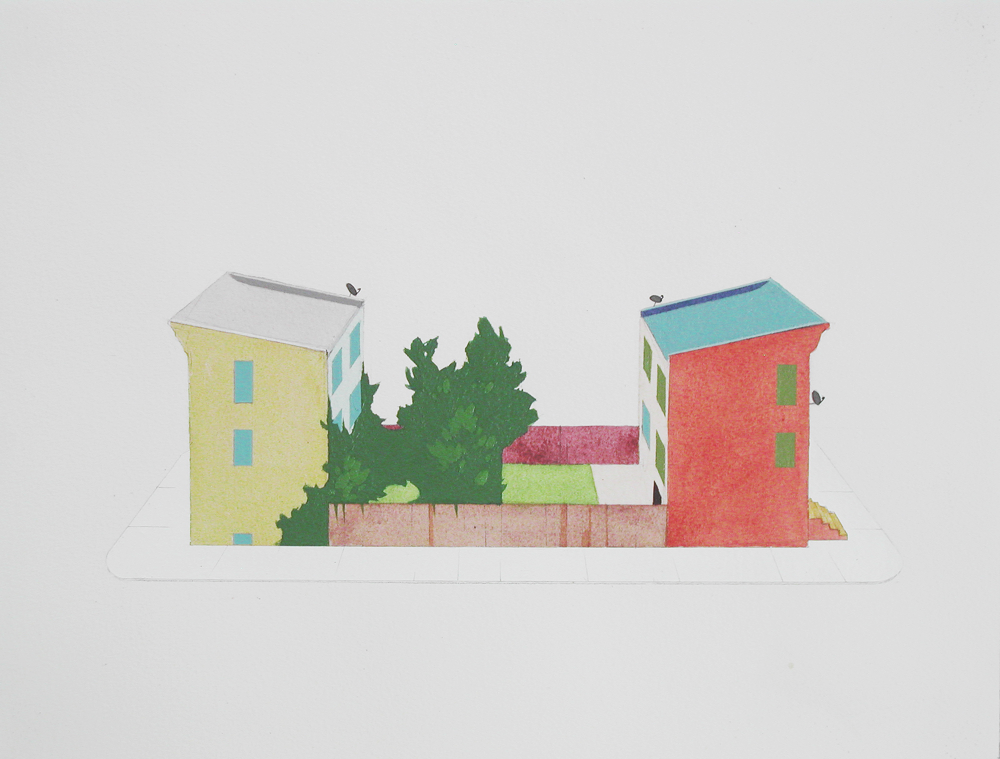 Chris Ballantyne   Short Block  2014 acrylic on paper 12 x 16 in