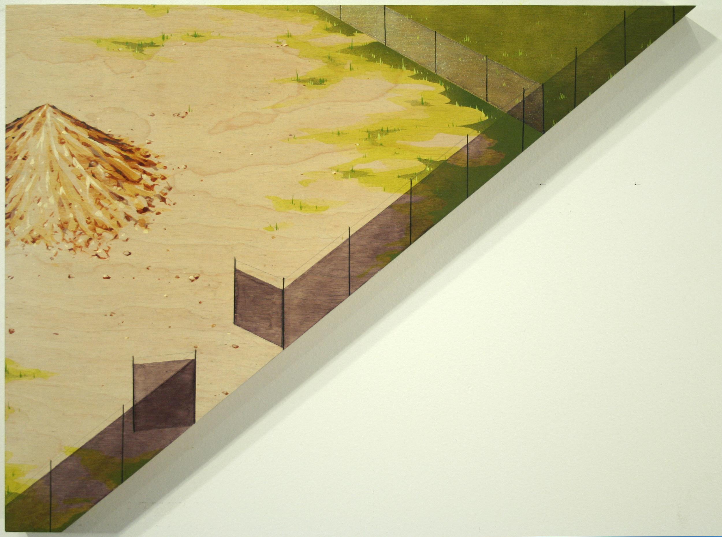 Chris Ballantyne   Storage Space  2015 acrylic on panel 18.38 x 23.65 in (triangular)