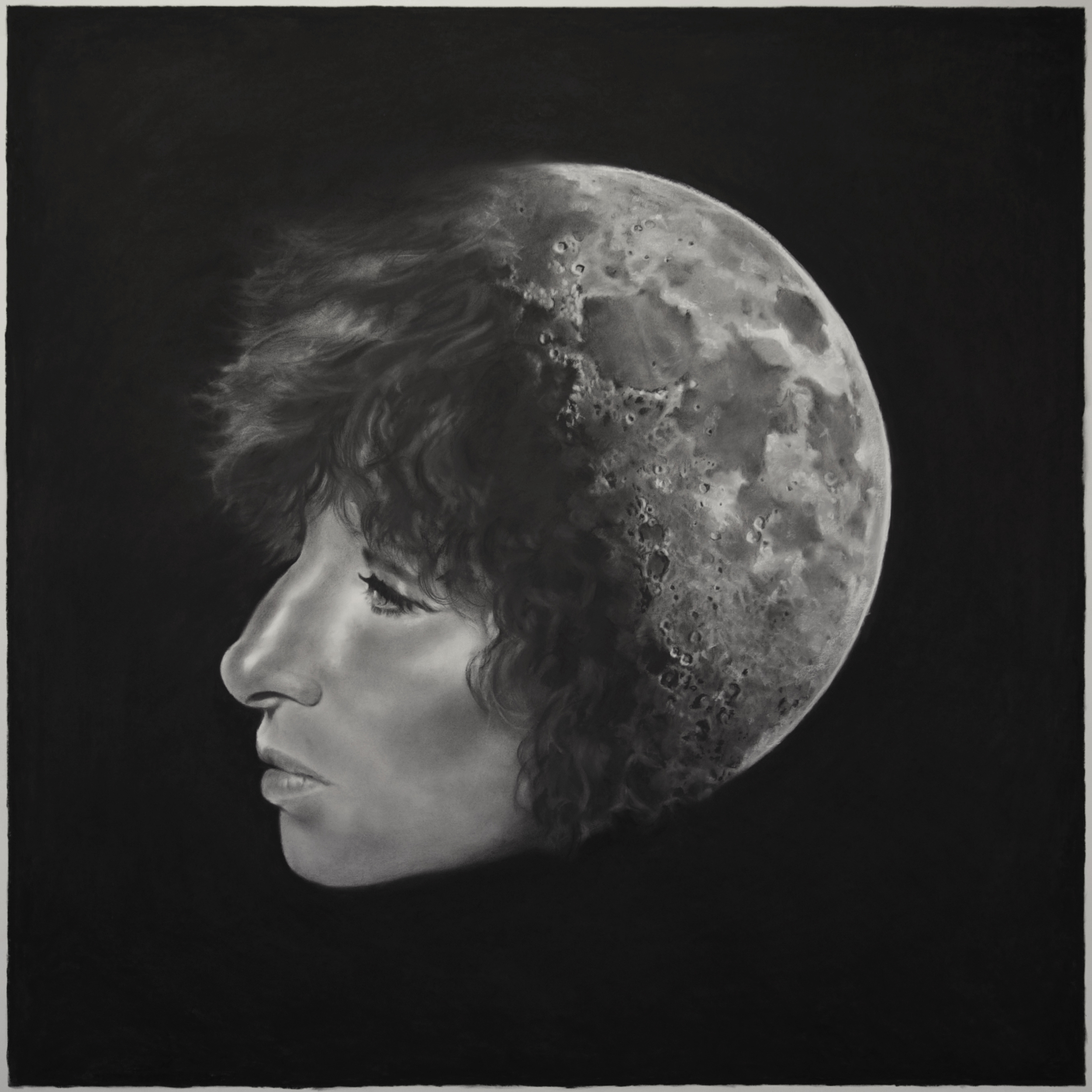 Eric Yahnker   Babs Moon Rising  2015 charcoal and graphite on paper 46 x 46 in.