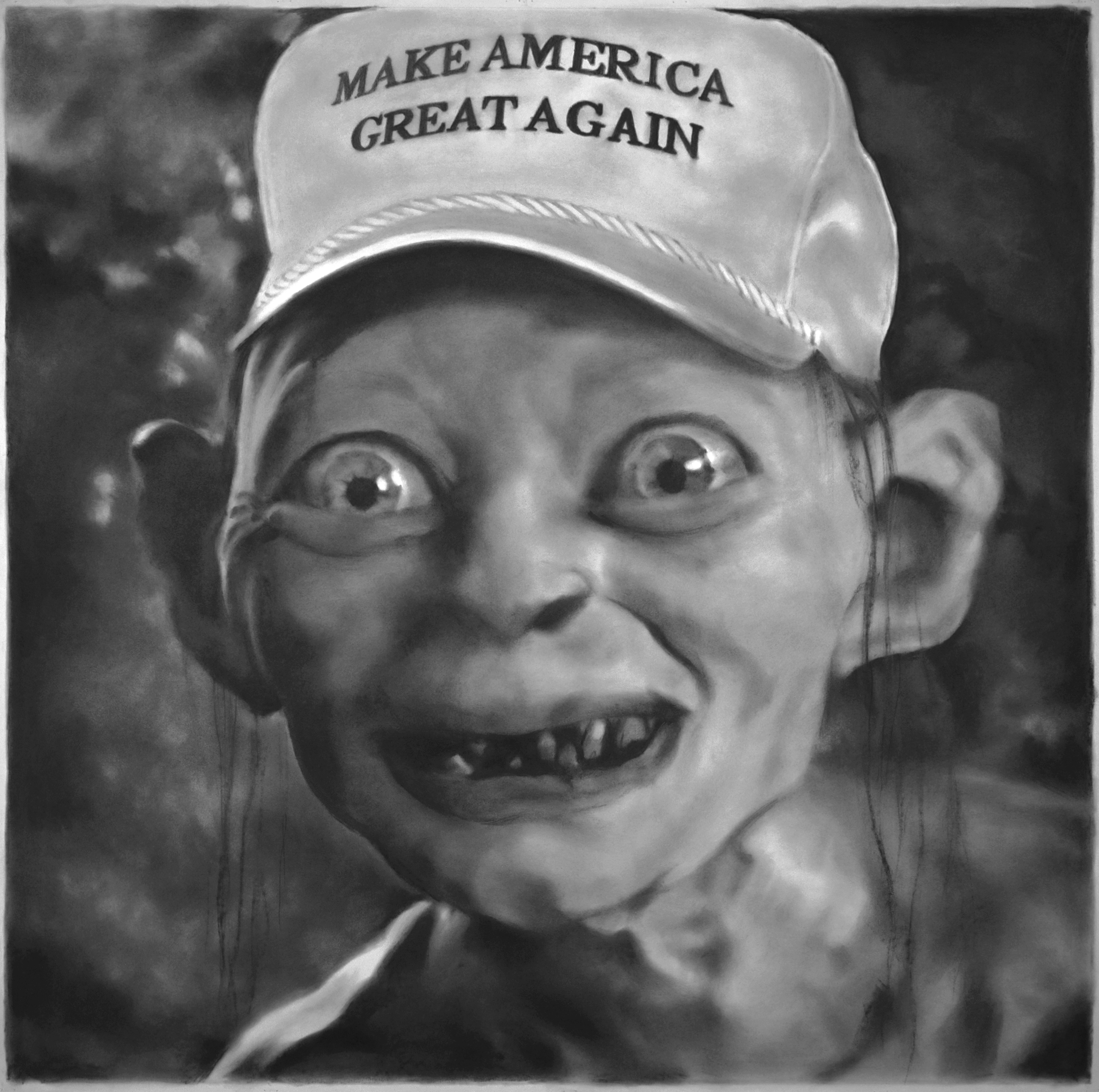 Eric Yahnker   Precious Patriotism  2015 charcoal and graphite on paper 42 x 42 in.