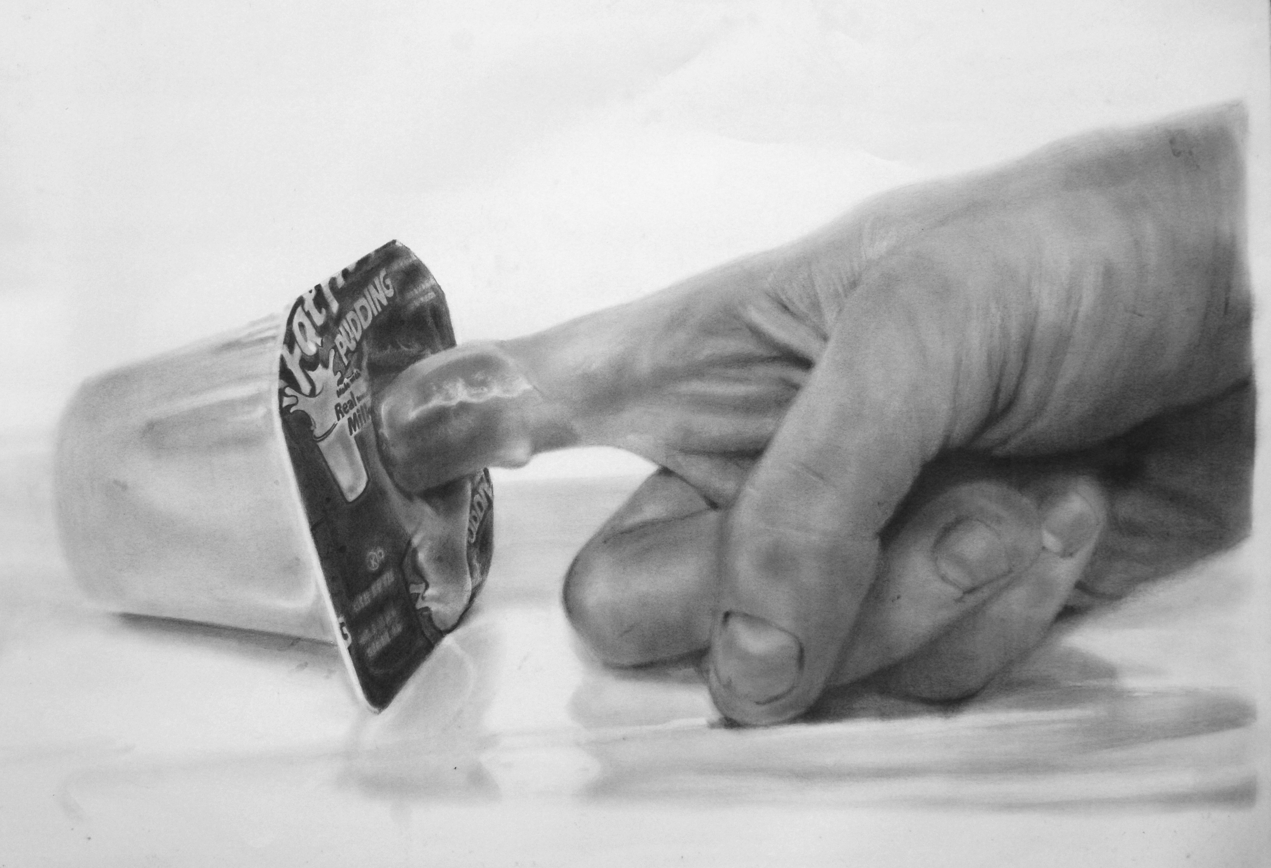 Eric Yahnker   Fingering (Tapioca Snak Pak)  2009 graphite on paper  40 x 52.5 in.