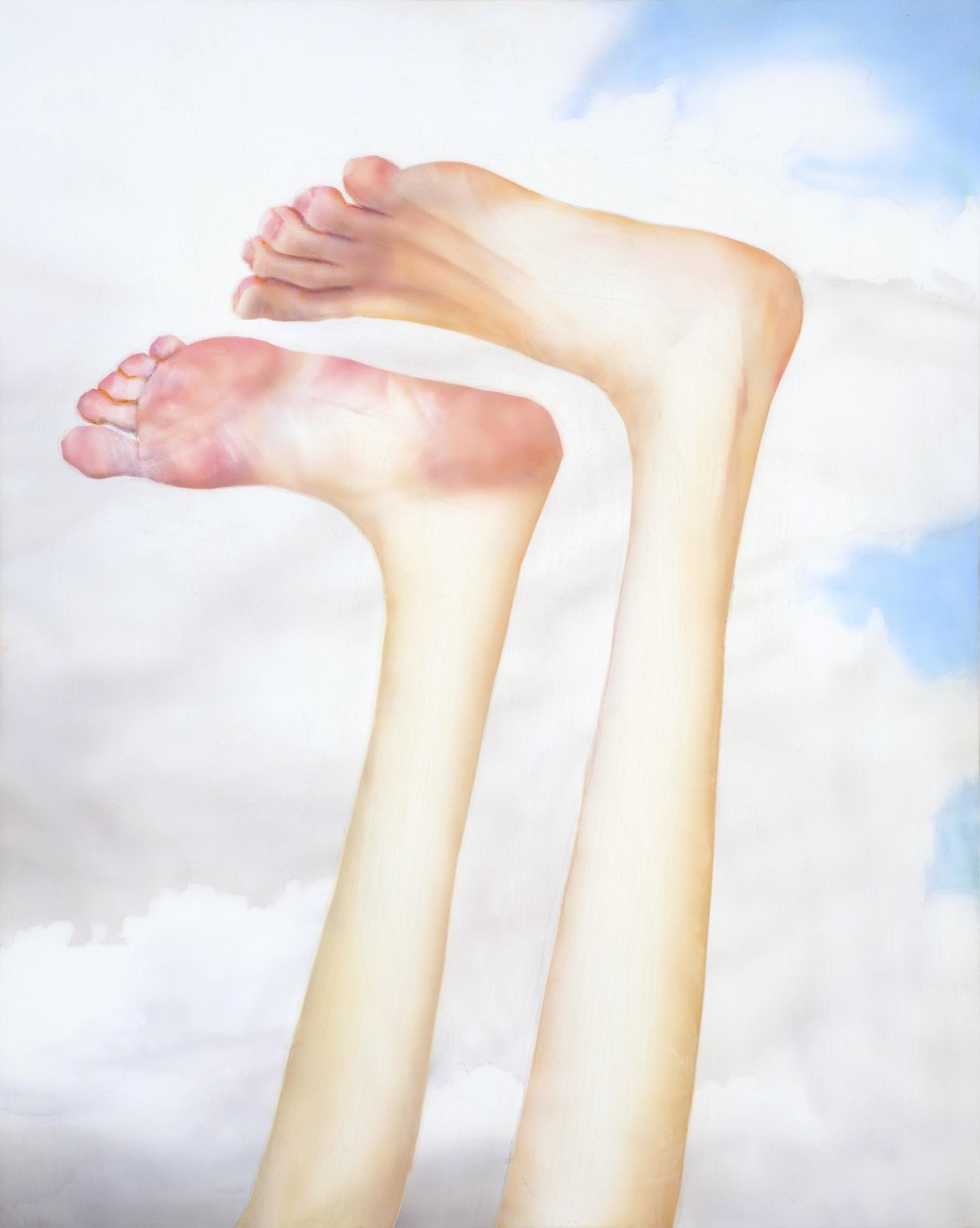 Robert Feintuch  Feet Up,  2013 Polymer emulsion on honeycomb panel 23.75h x 19w in.