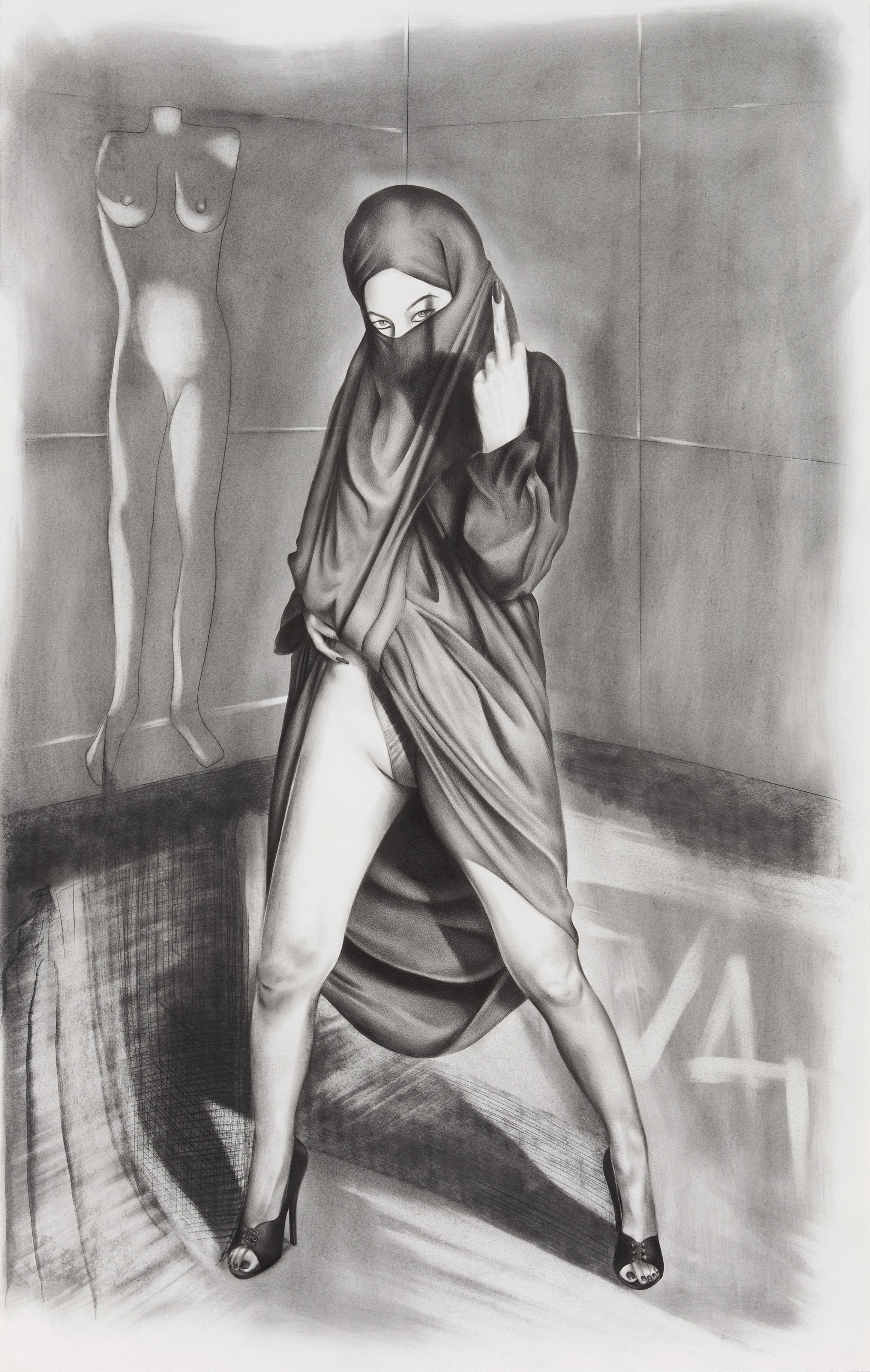 Taravat Talepasand  Blasphemy X , 2016 graphite on paper 22h x 15w in.