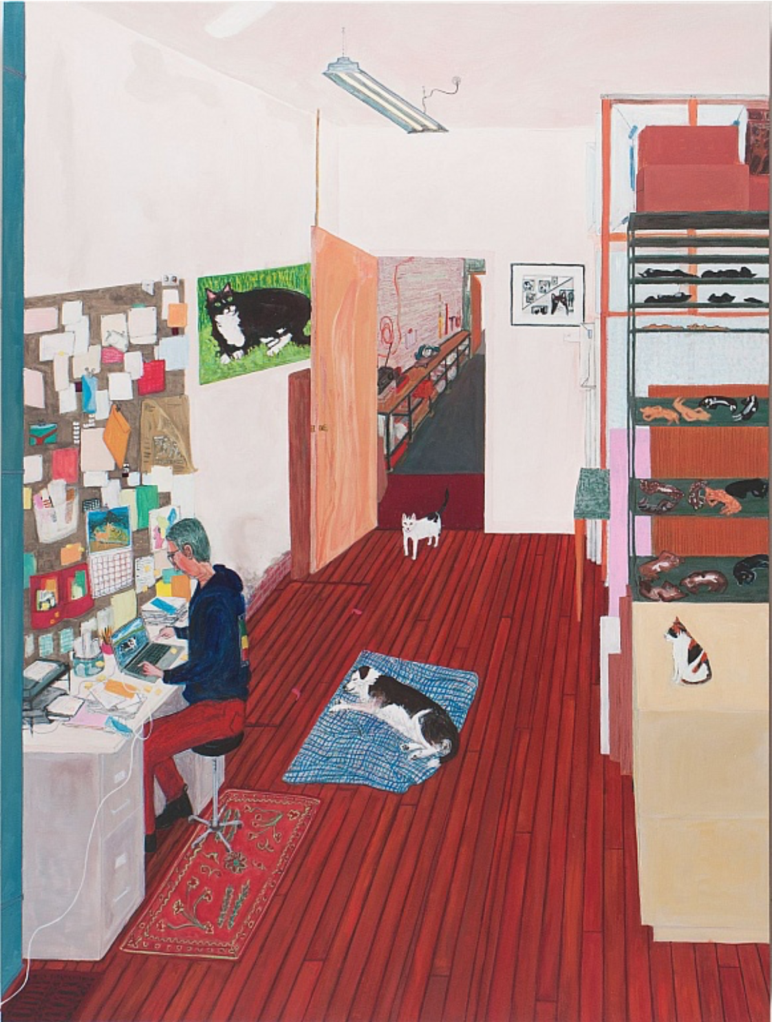 Sarah McEneaney   Office Work , 2015  acrylic on wood, 48h x 36w in