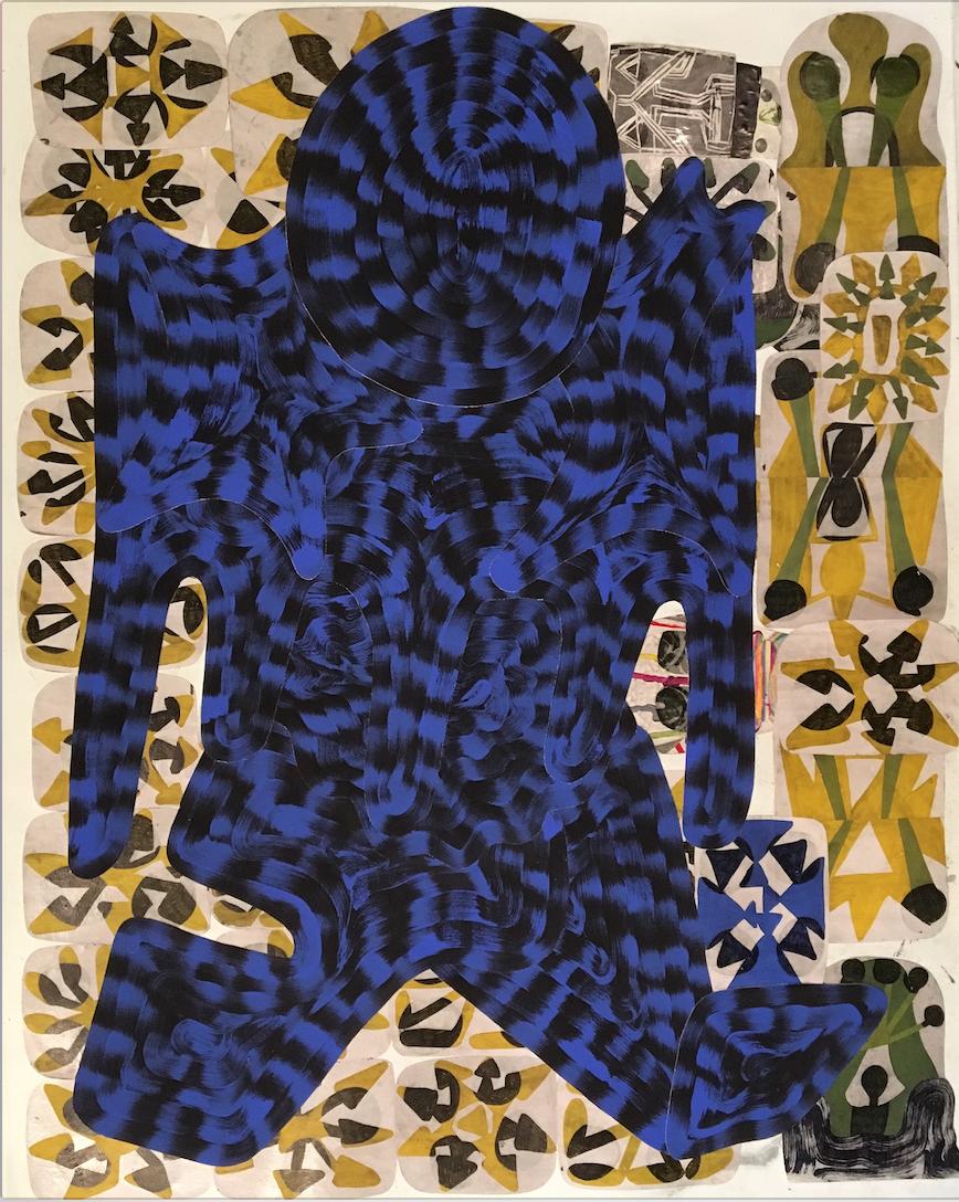 Josh Jefferson   The Walking Man  , 2017 collage on canvas 60h x 48w in