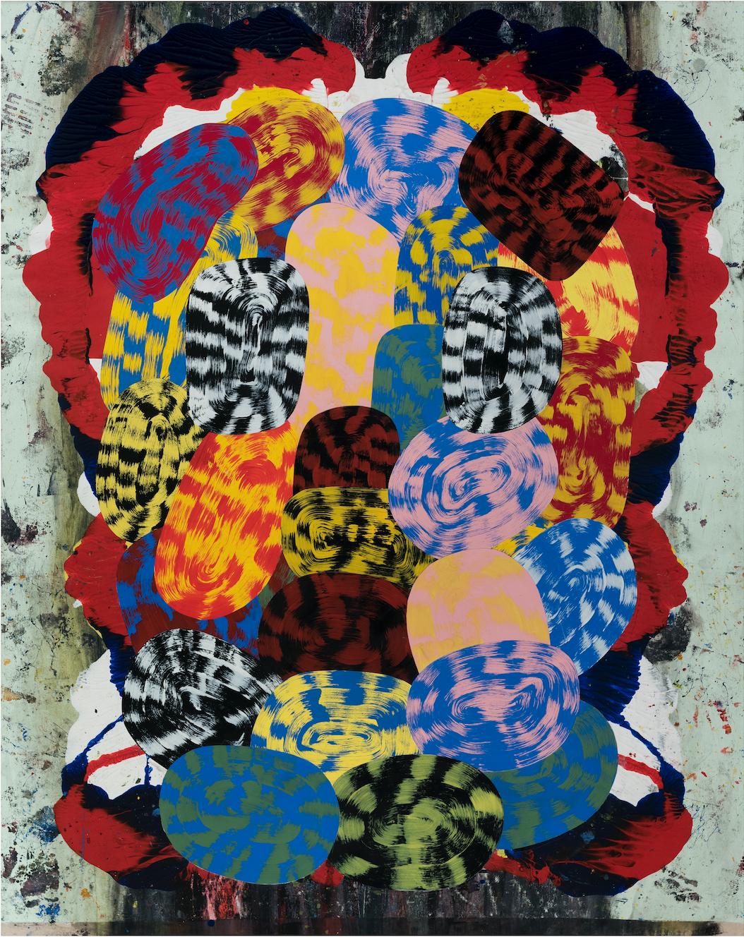 Josh Jefferson    Jerry Bear  , 2017 collage on canvas 60h x 48w in