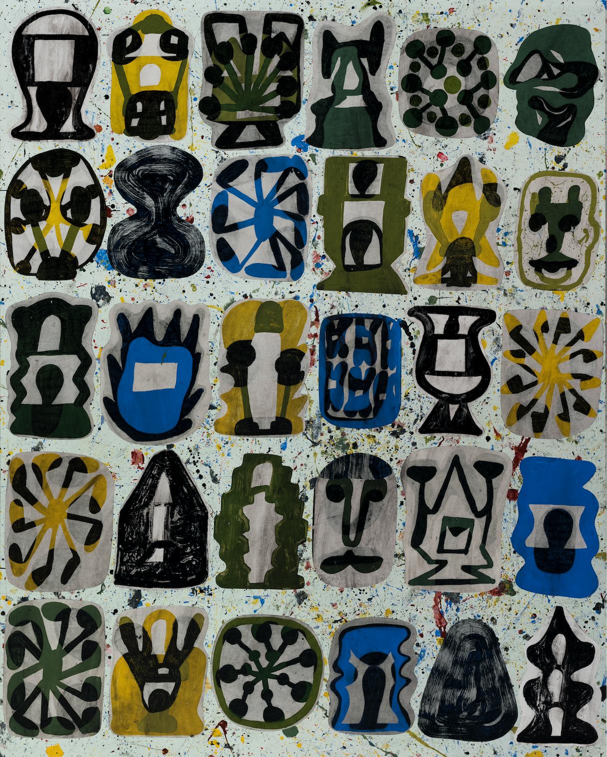 Josh Jefferson    Index  , 2017 collage on canvas    50h x 40w in