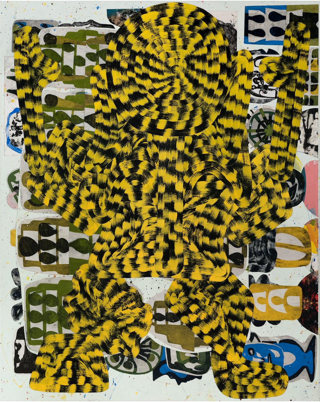 Josh Jefferson    Hunter Man  , 2017 collage on canvas 60h x 48w in