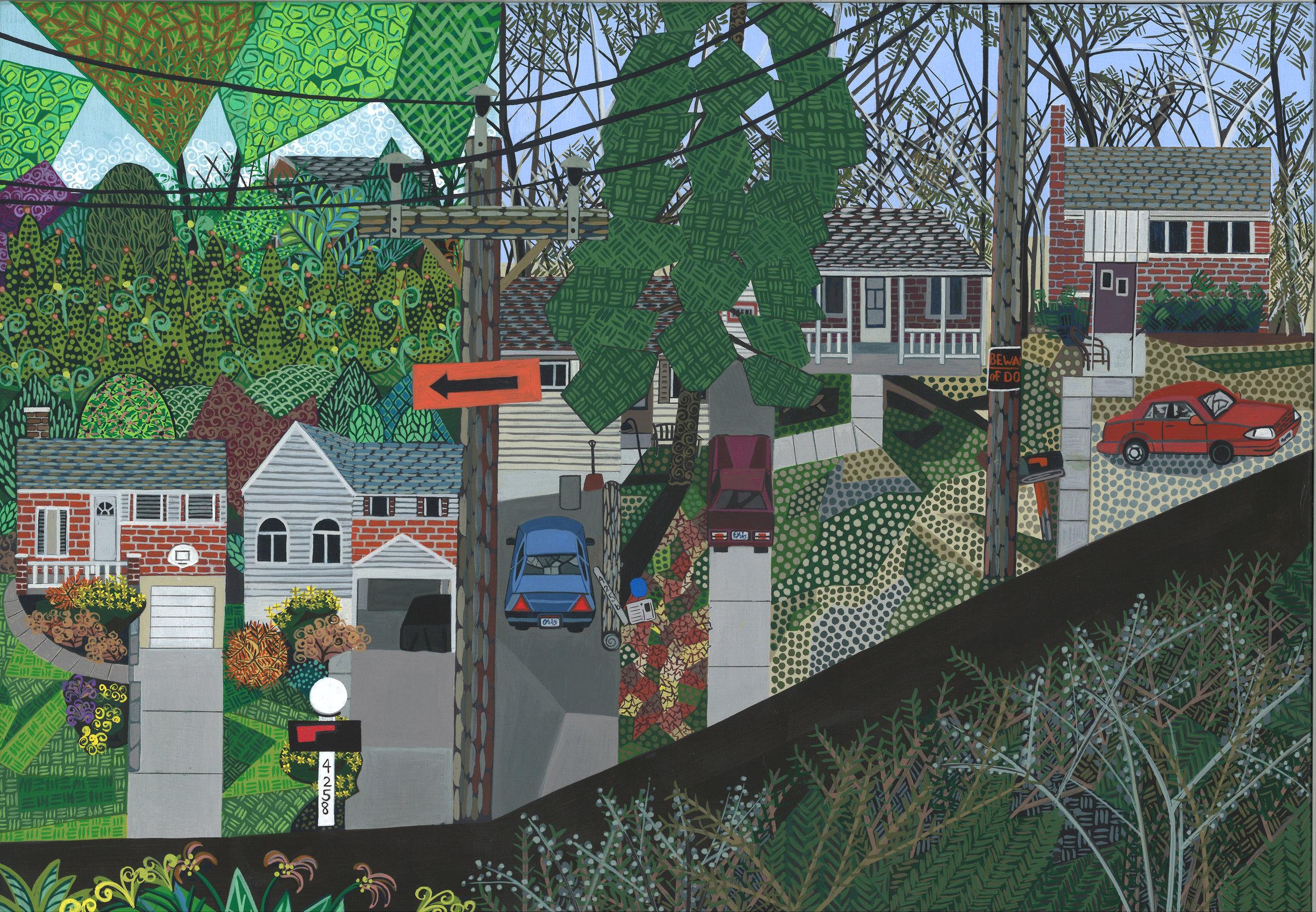 Ann Toebbe  Downhill (Delhi) , 2017 gouache and pencil on panel 12h x 16w in.