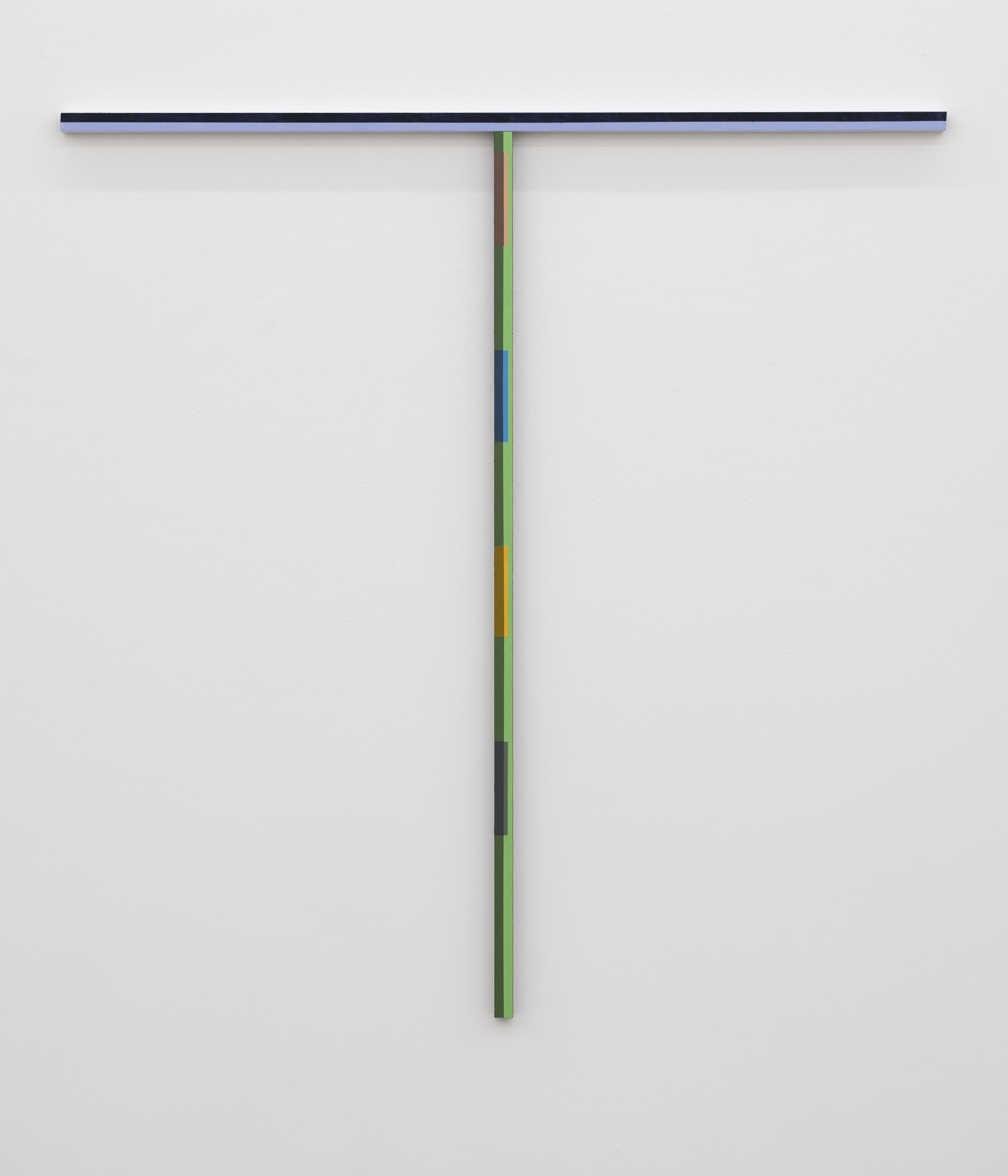 Tony Larson  Proposal for a New Cross(T is for Tony) , 2018 flashe, acrylic, traffic marker paint on steel 49h x 48w x 1d in