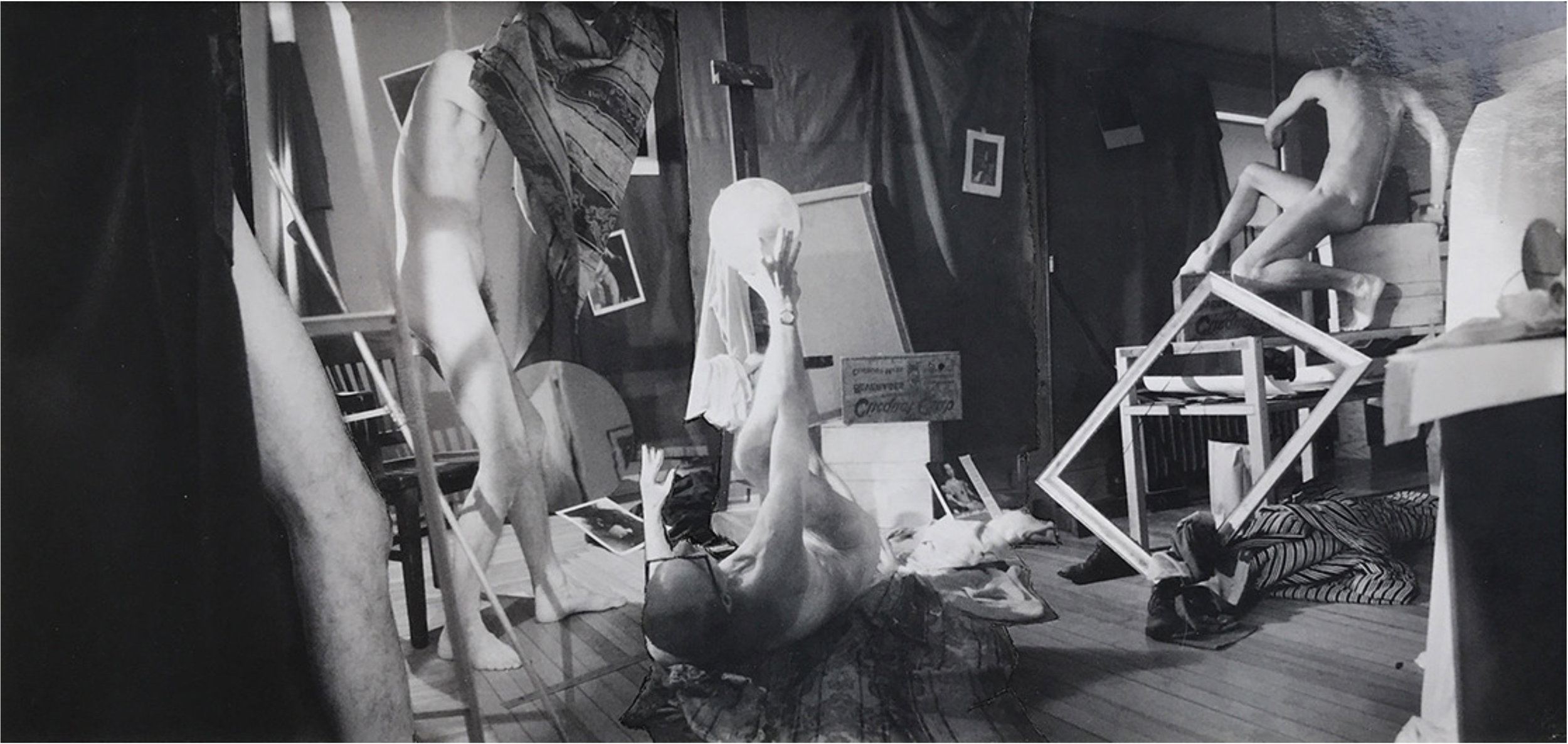 John O'Reilly  A Balancing Act , 1985  polaroid montage  3.70h x 7.70w in