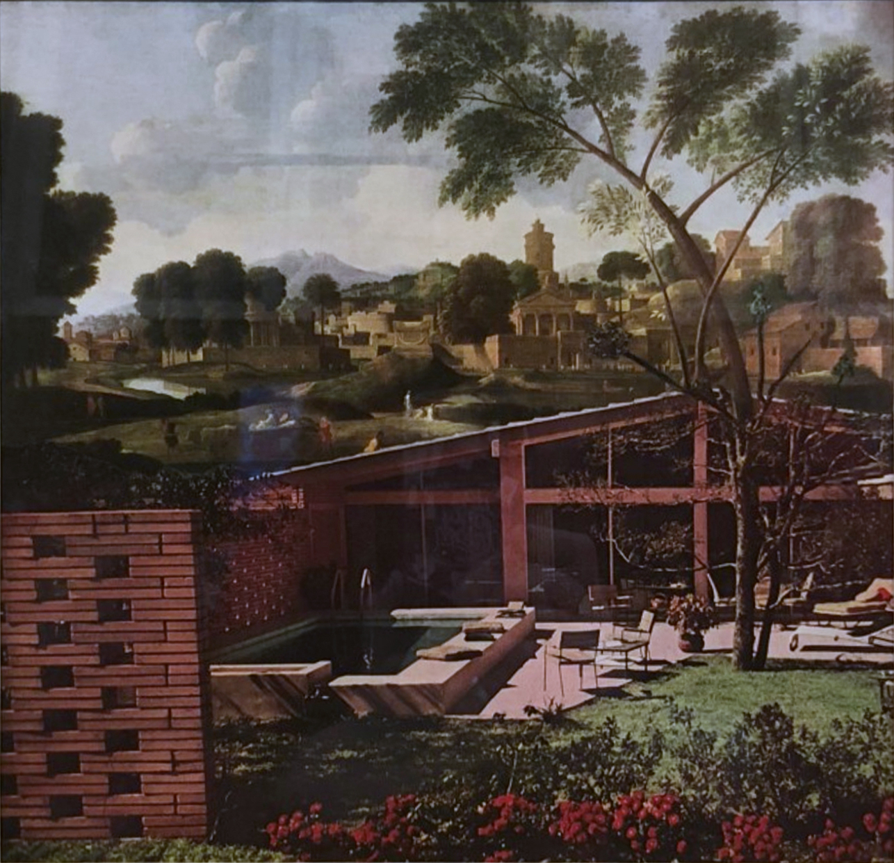 John O'Reilly   Poolside Tree , 1980  paper montage  9h x 9.50w in