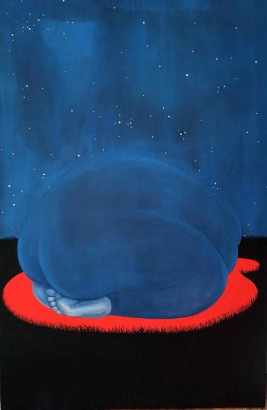 Brittney Leeanne Williams,  INTERCEDING ROCK , 2018, oil and acrylic on canvas, 60 x 40 inches
