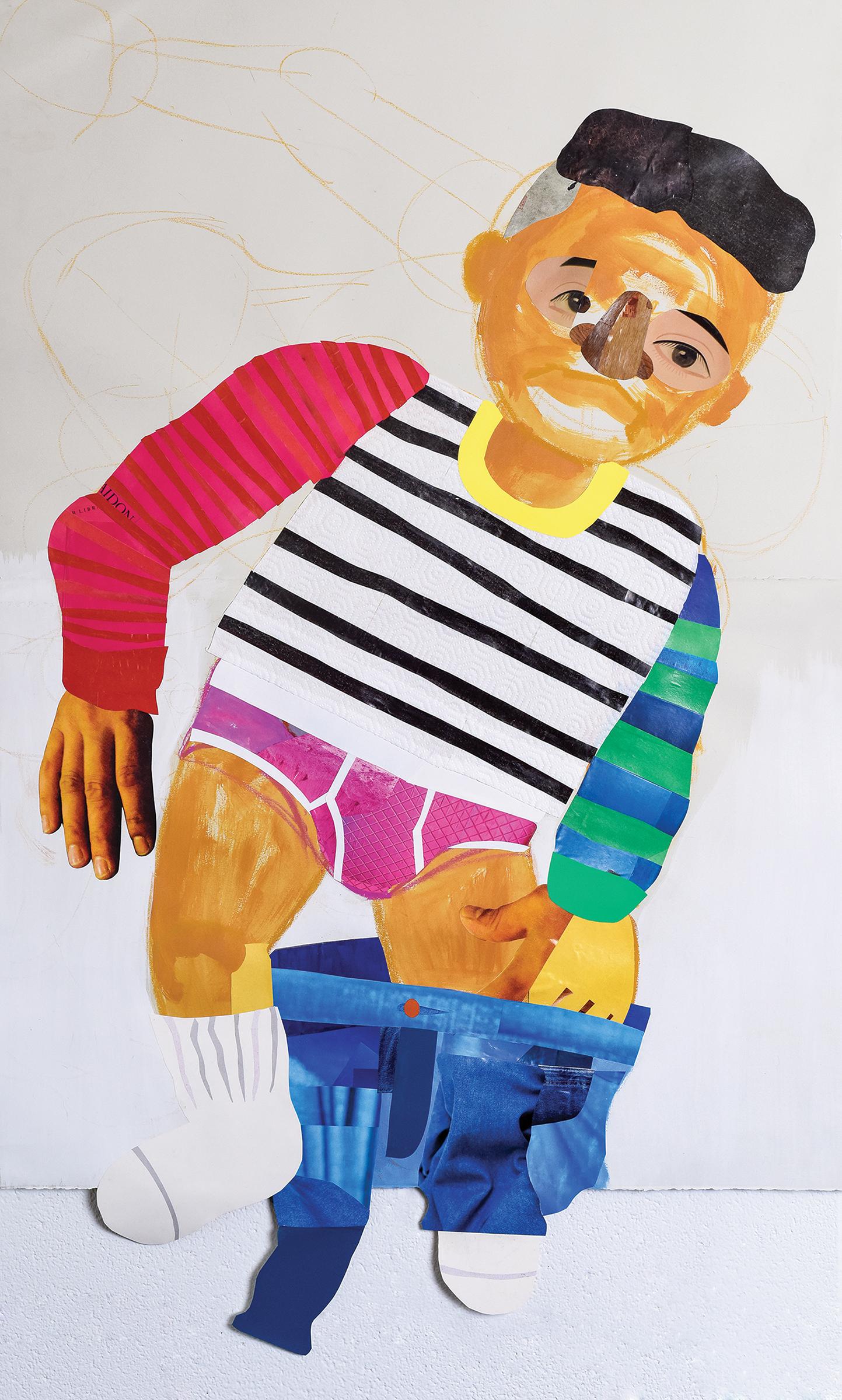 Clotilde Jiménez  Self-Portrait in Pink Underwear , 2016  mixed media collage on paper 48h x 30w in