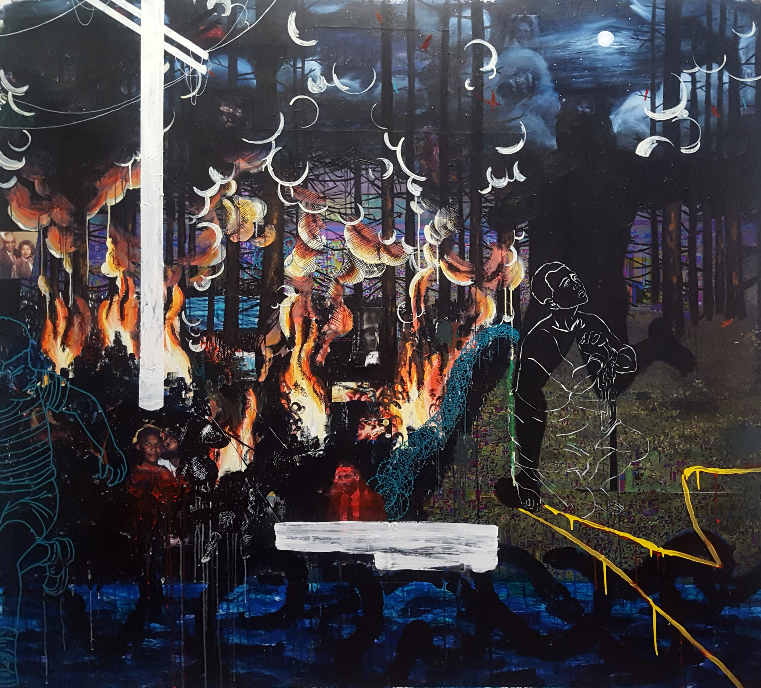 Jordan Seaberry  Hallmarks , 2018 oil, acrylic and mixed media on canvas  70h x 78w in