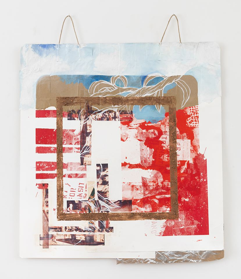 Tomashi Jackson  Standing at the Bus Stop, Sucking on a Lollipop (White Peaches, Red Square) , 2018 silkscreen, oil, Georgia red clay, and acrylic 39.50h x 33w in
