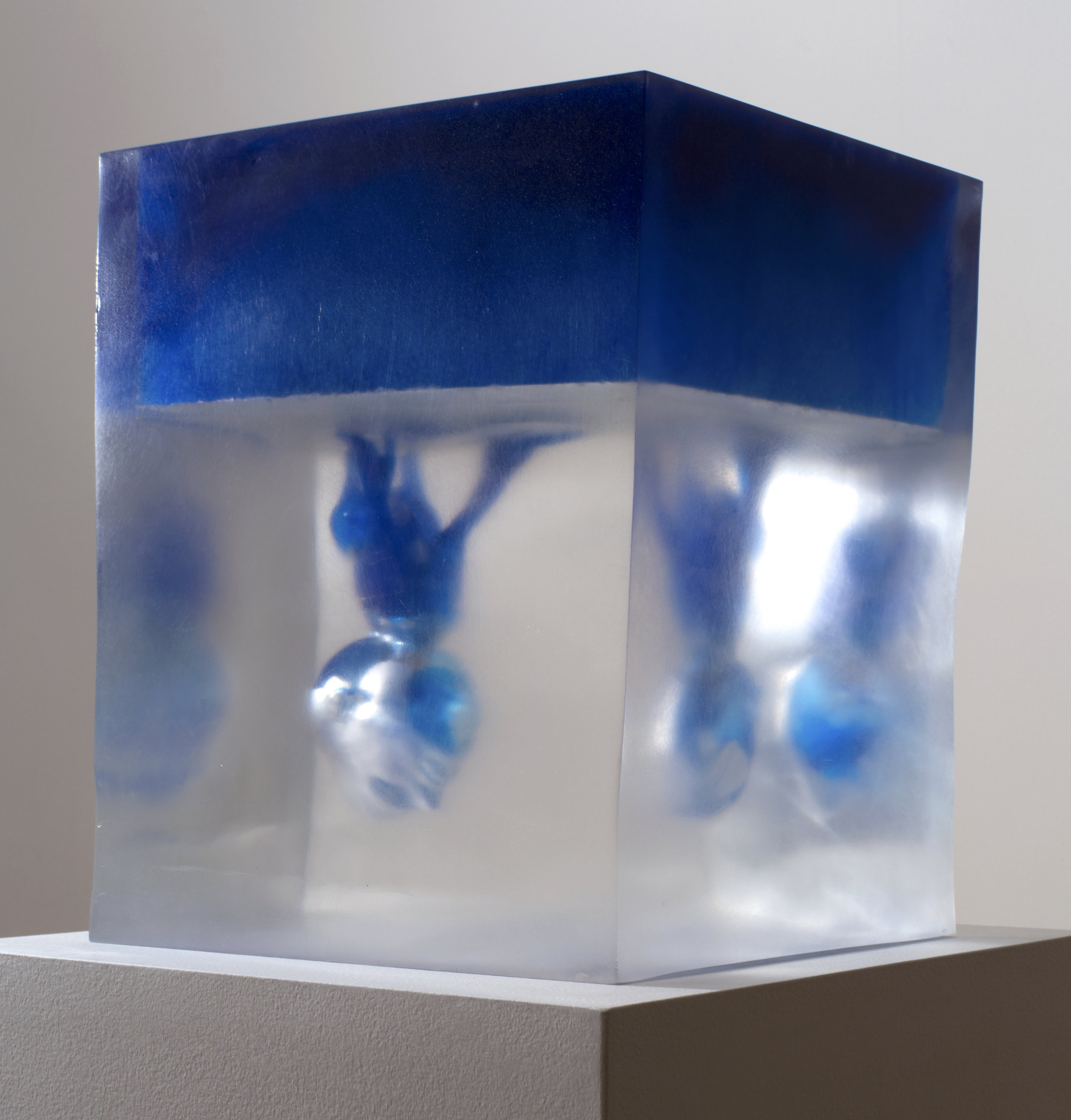 RonaPondick  Upside Down Blue , 2014-17 pigmented resin and acrylic 13 3/8 x 9 7/8 x 11 7/16 in