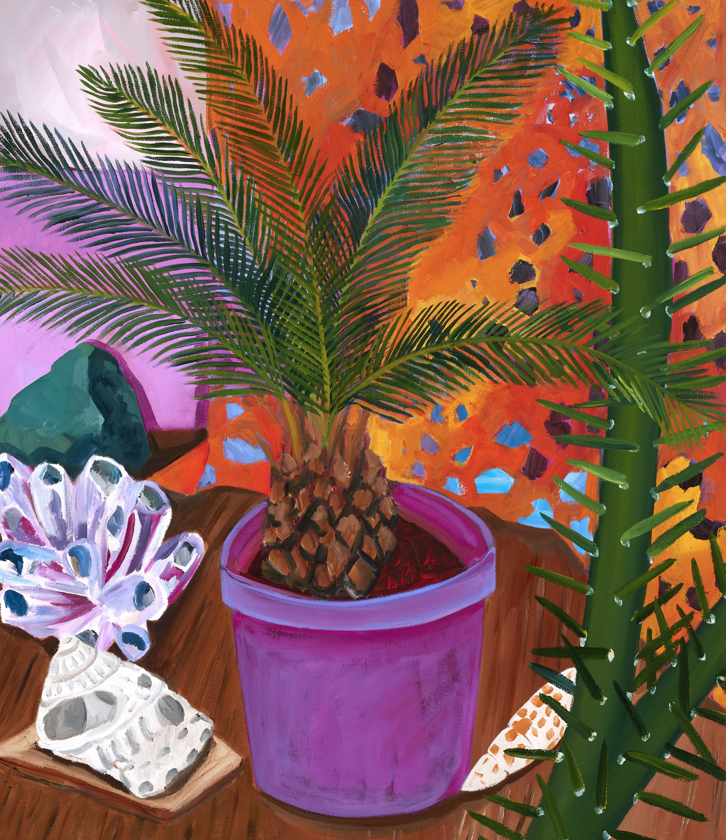 Anna Valdez  Potted Palm , 2019 oil on canvas 28h x 24w in