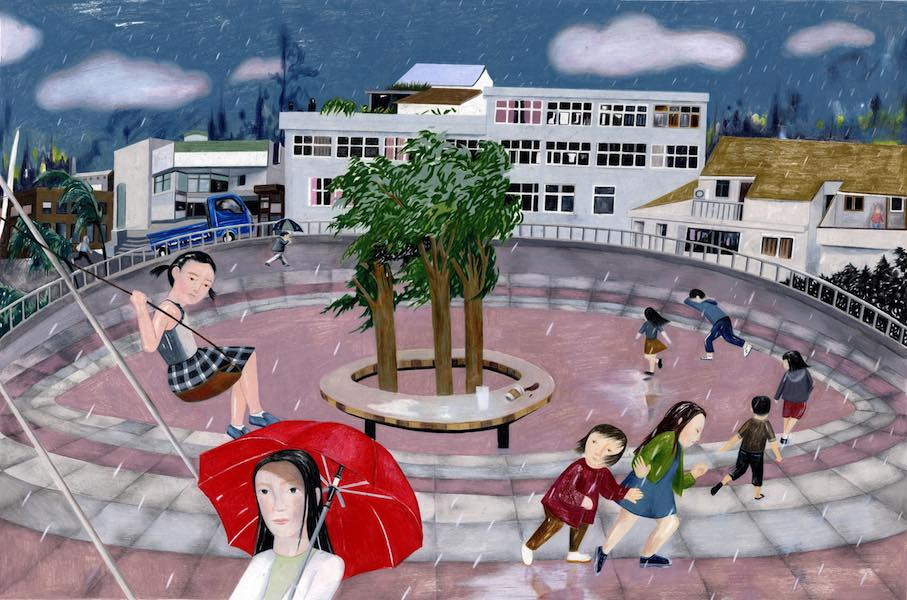 Joanne Ji Young Kim  Rainy Day at the Park,  2018 colored pencil on paper 27.50h x 38.50w in