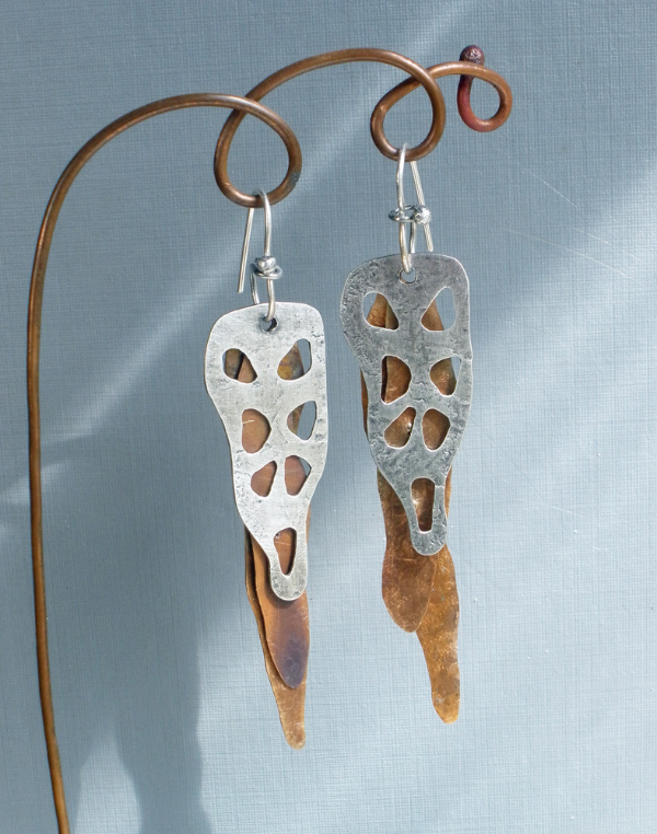 Sterling and fire patinated bronze pods