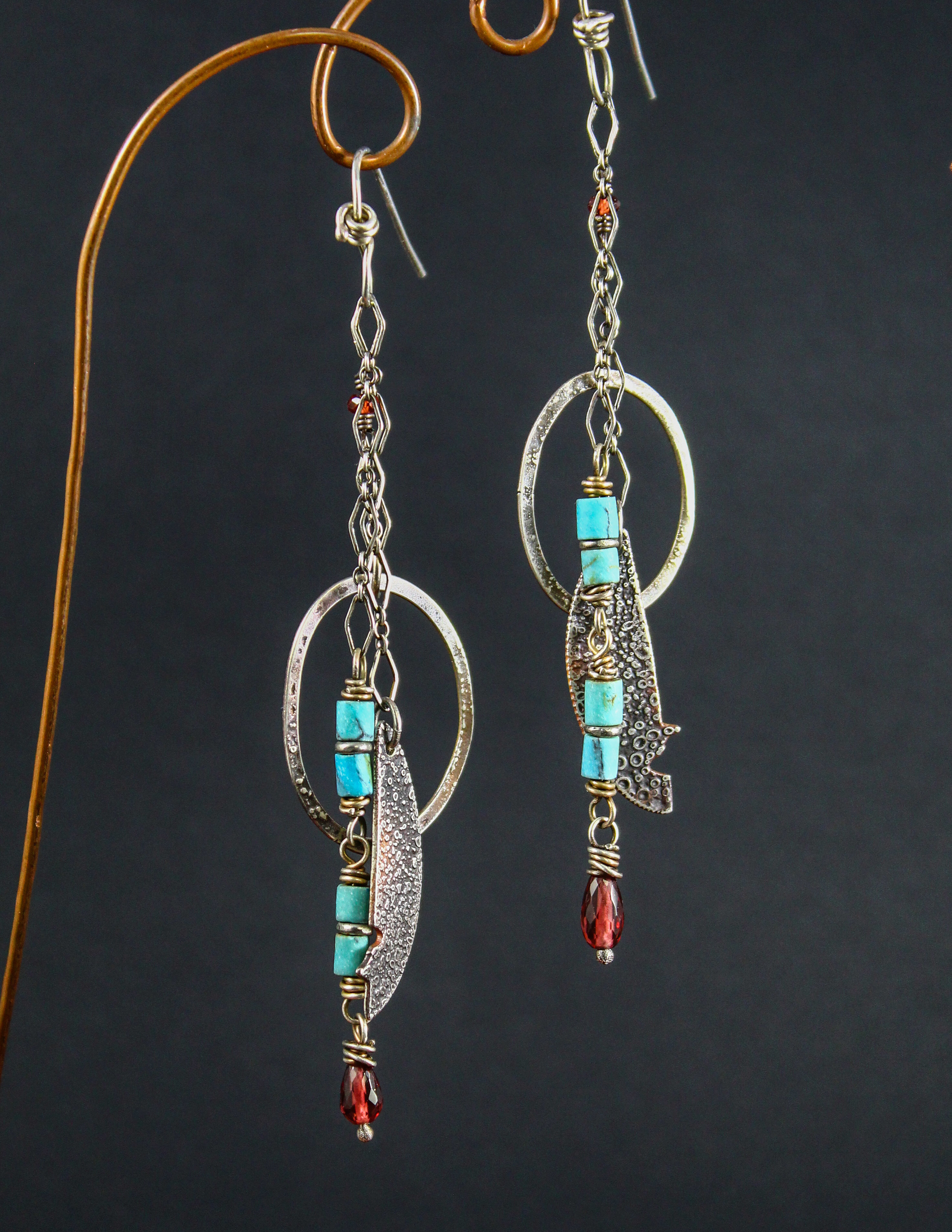 Reticulated Sterling Hoops and Turquoise Earrings