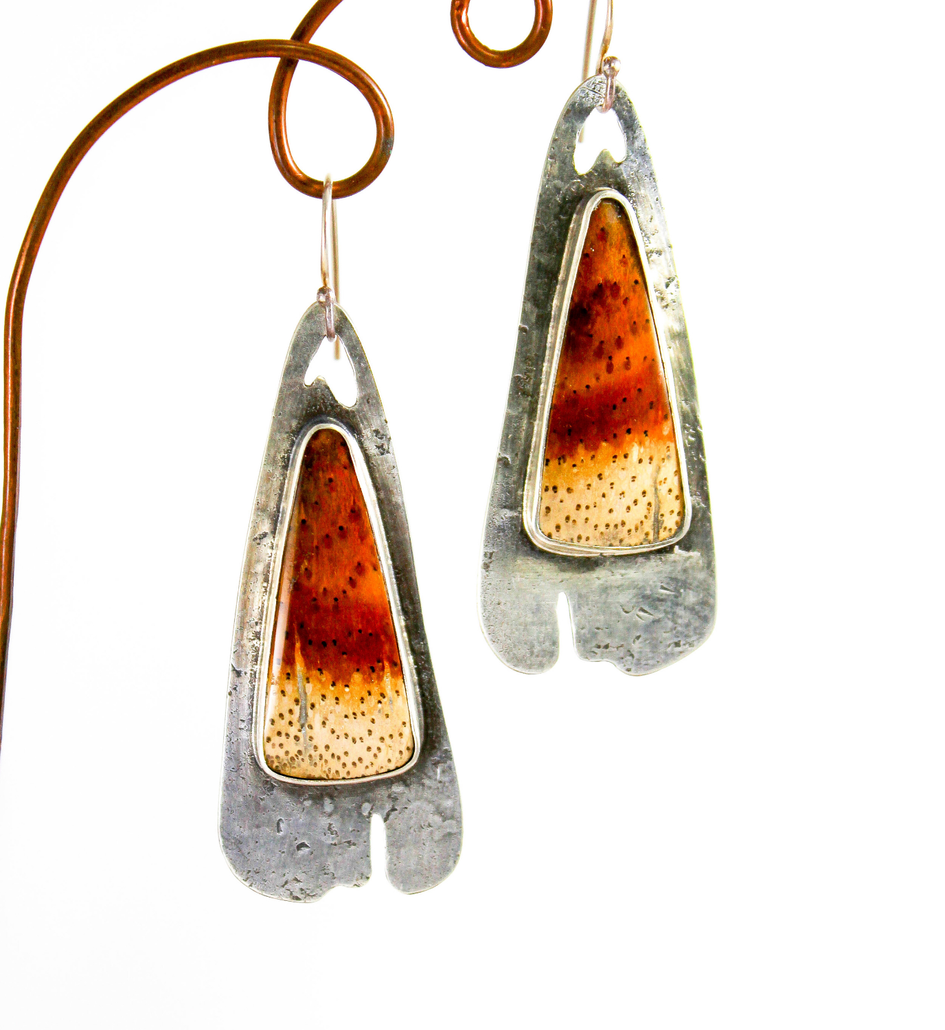 Petrified Palm and Sterling Earrings