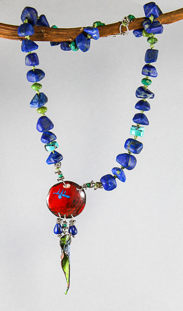 A few of my enameled elements with a beautiful color quality lapis and turquoise beads hand knotted on silk cord.