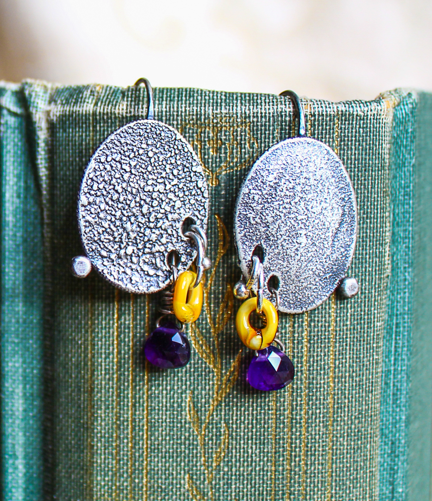 More oceanic fused and reticulated silver with amethyst and ochre glass beads.