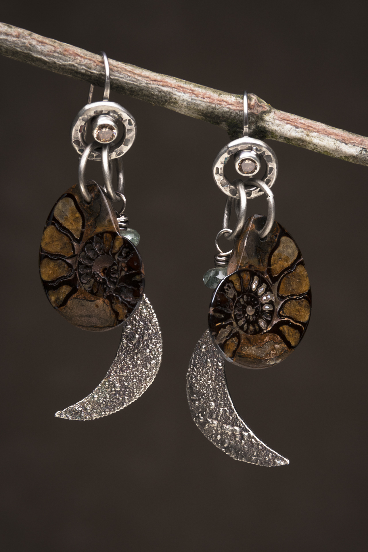 Fossil Ammonite, Moss Aquamarine, Sterling, Reticulated Silver