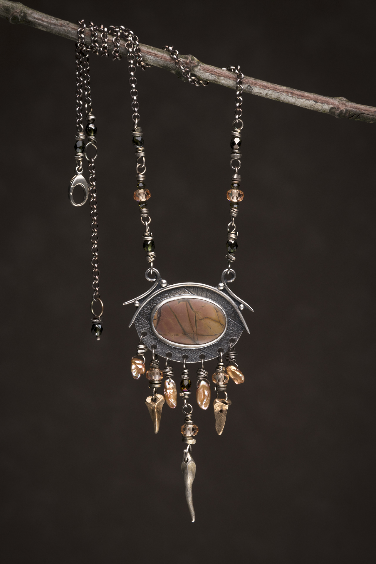 Cherry Creek jasper, Pearl, Sterling,  Bronze, Swarovski Crystal