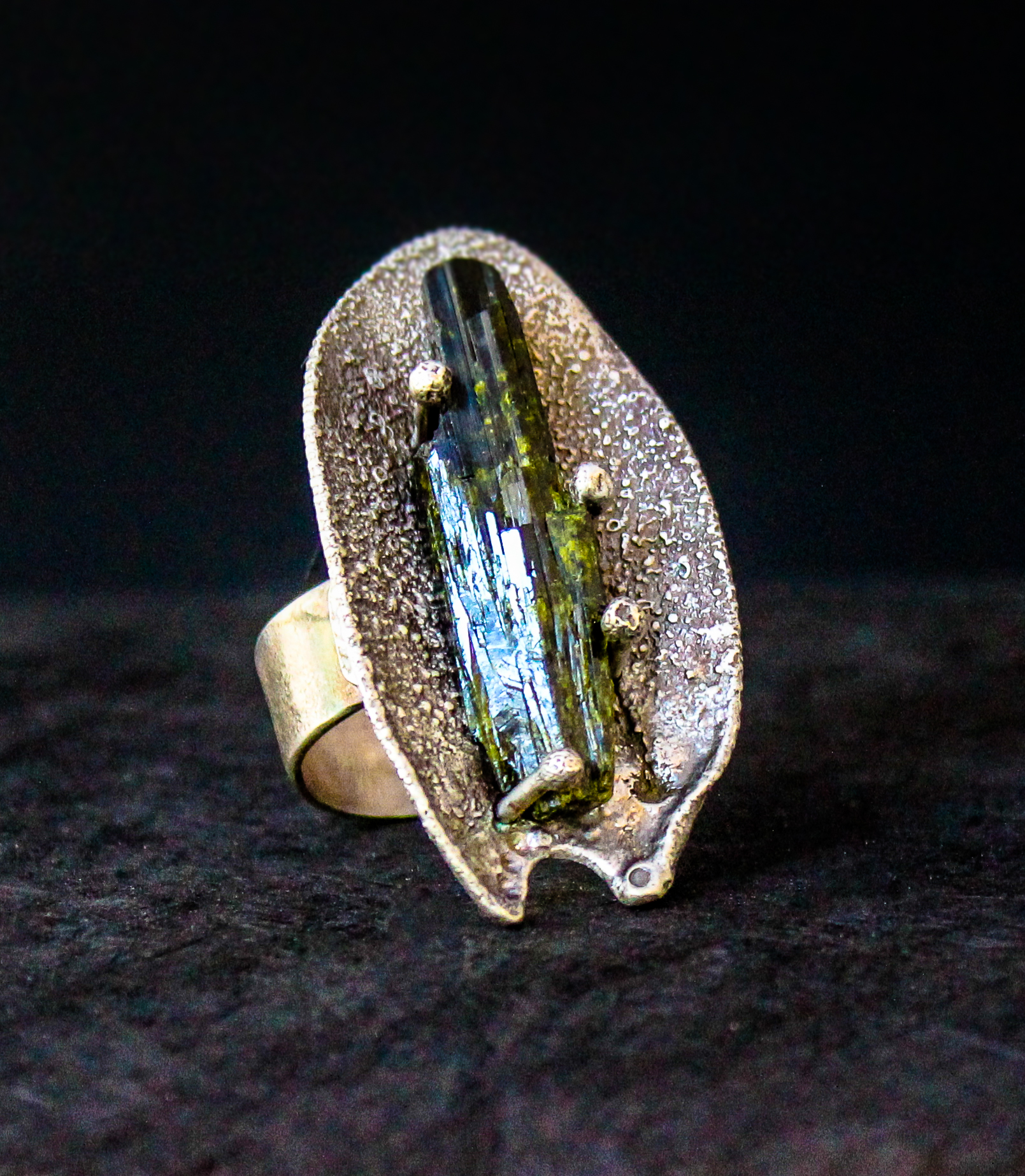 Epidote, Reticulated Silver, Sterling