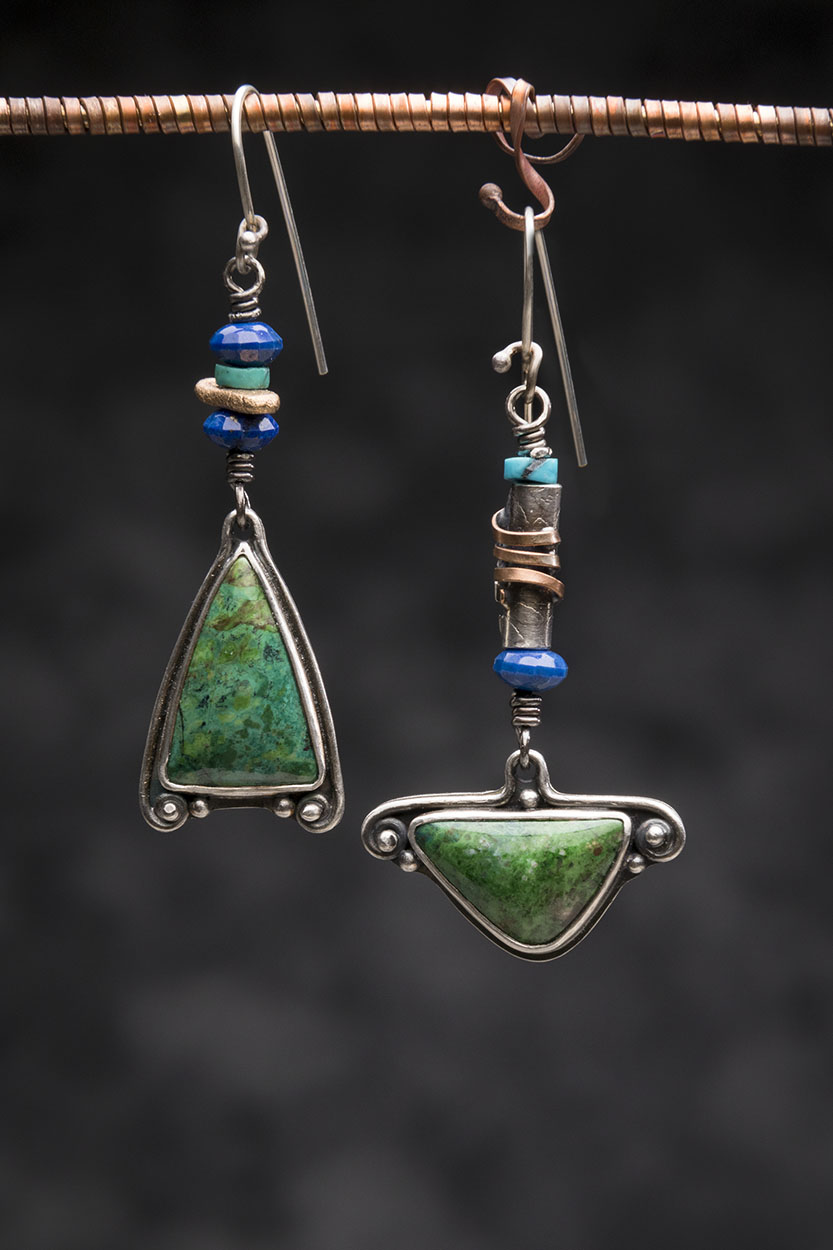 Chrysocolla, Turquoise, Sterling and Bronze