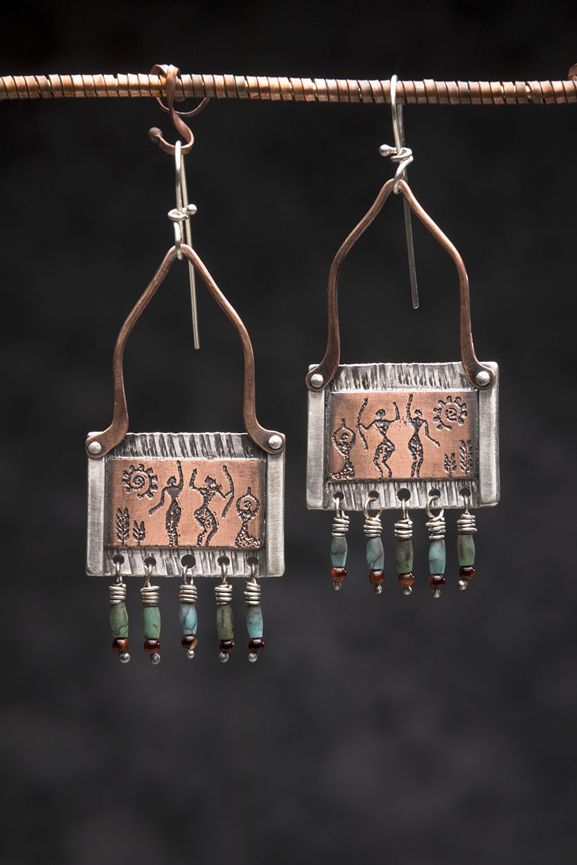 Sterling, Etched Copper, Turquoise, Garnet