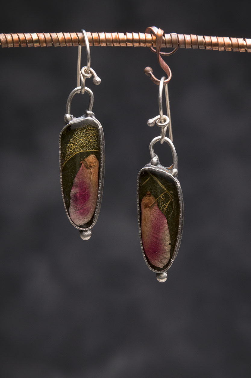 Maple Seed and Leaf in Resin and Sterling