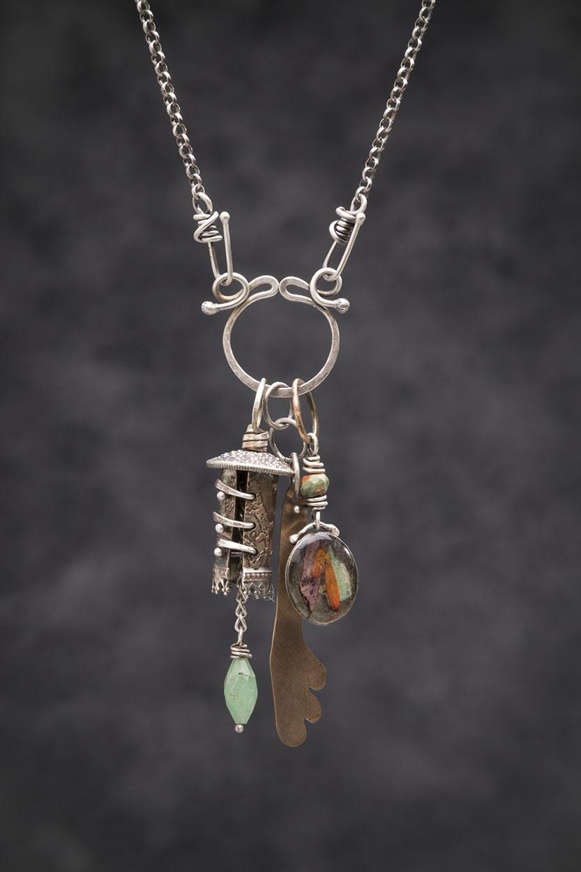 Celtic Bell Series: Sterling, Brass, Peruvian Opal, Bronze, Collaged Organics in Resin