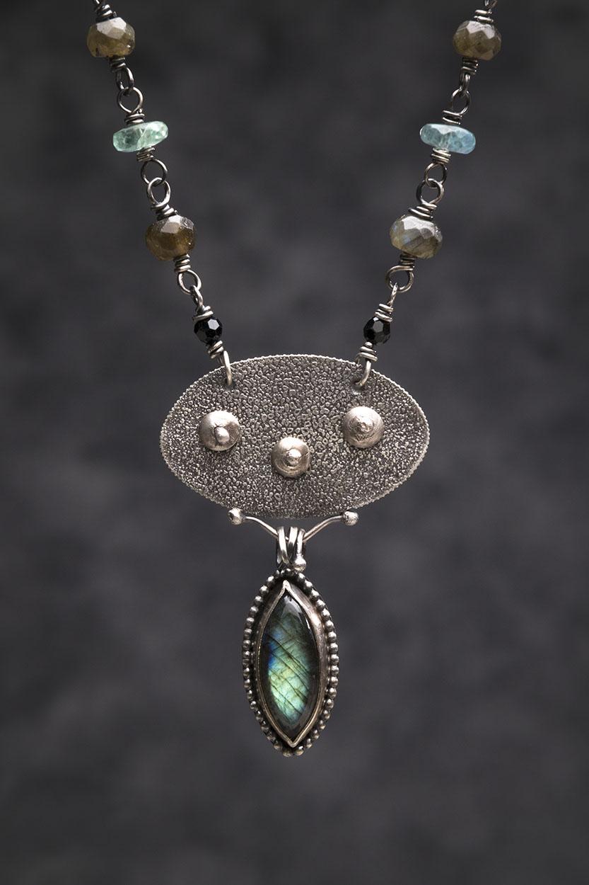 Three Moons Reticulated Silver, Labradorite. Fluorite
