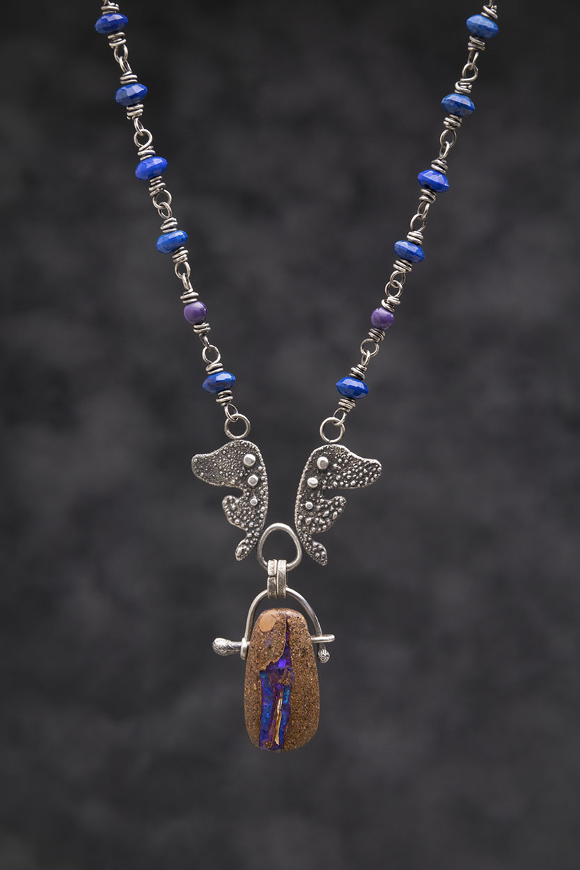 Boulder Opal, Lapis, Sugalite and Reticulated Silver