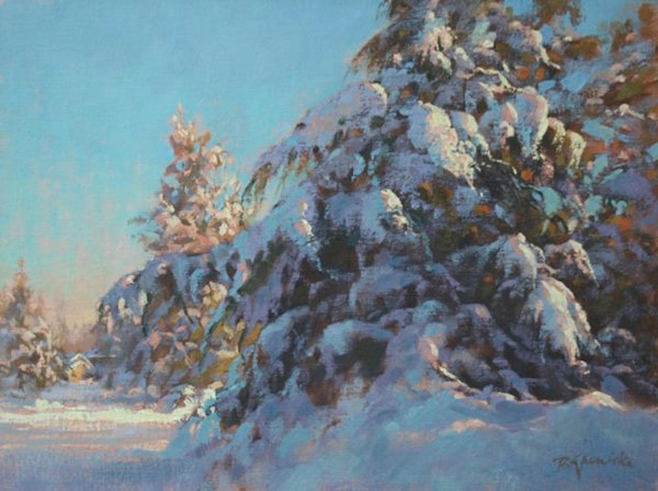 BJaenicke-Hiding Behind the Snowy Juniper-12x16-oil.jpg