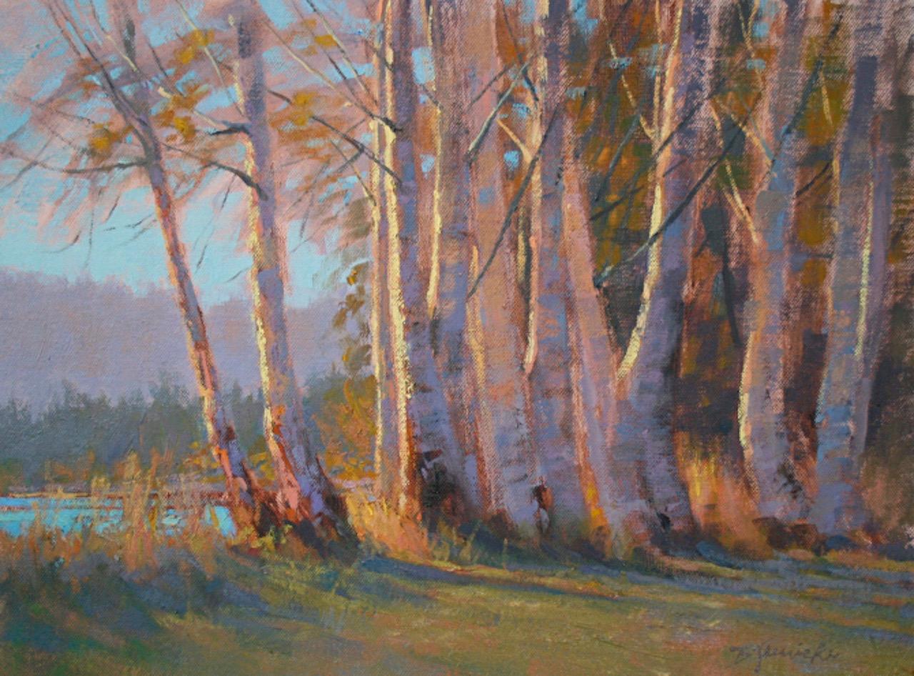 BJaenicke-Aspens Reveling in Evening Light-12x16 oil.jpg