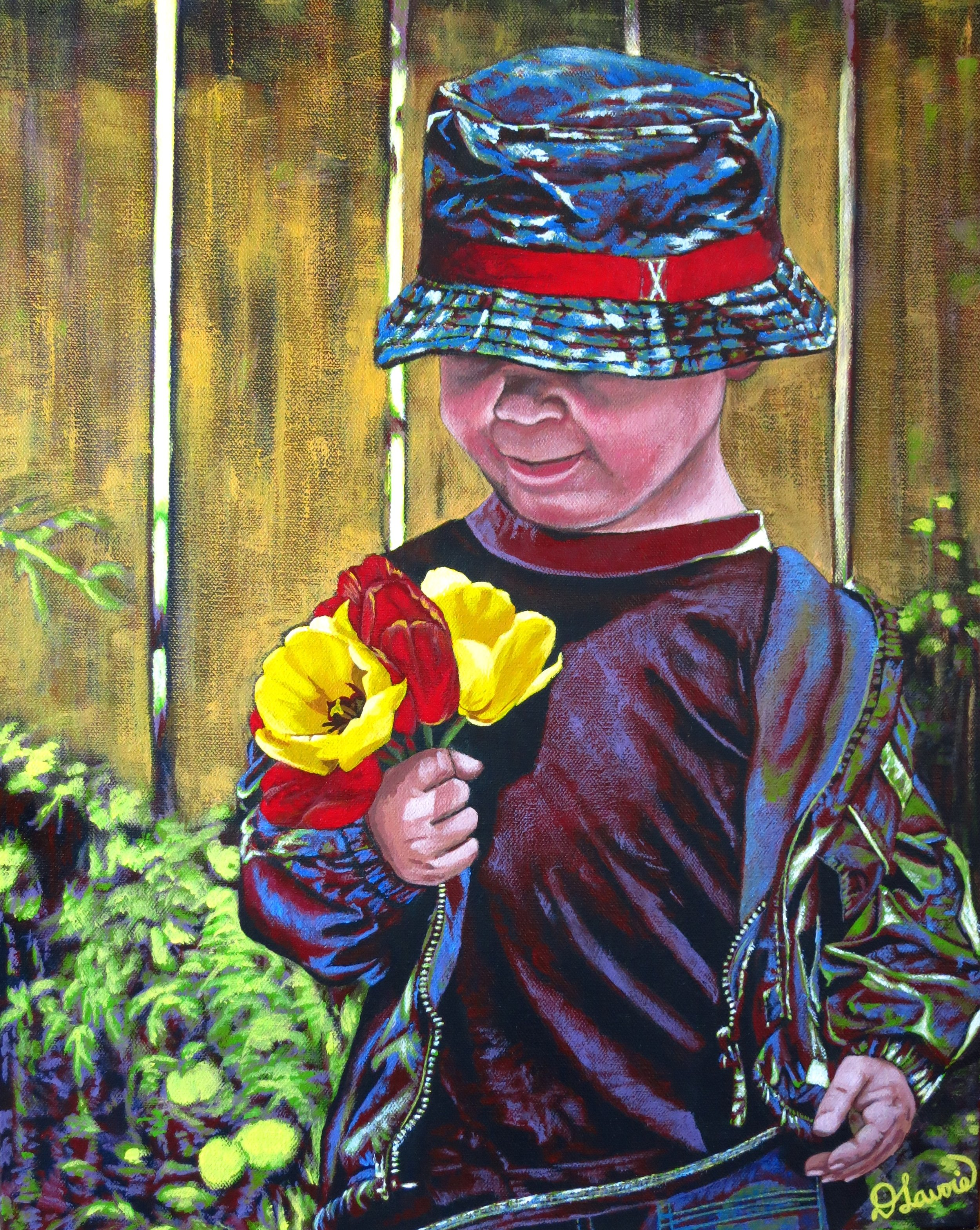 """Mom is Going to Love These   Acrylic on Canvas - 20"""" x 16""""    Both the original and limited edition prints are available.   The painting, Mom is Going to Love These, pertains to that moment when you decide to enjoy your child's free spirit and revel in all its glory rather than think about the now short stemmed tulips no longer in the garden.The playful colours vibrate to mimic a child's imagination and sense of wonder. Children have so much to teach us."""
