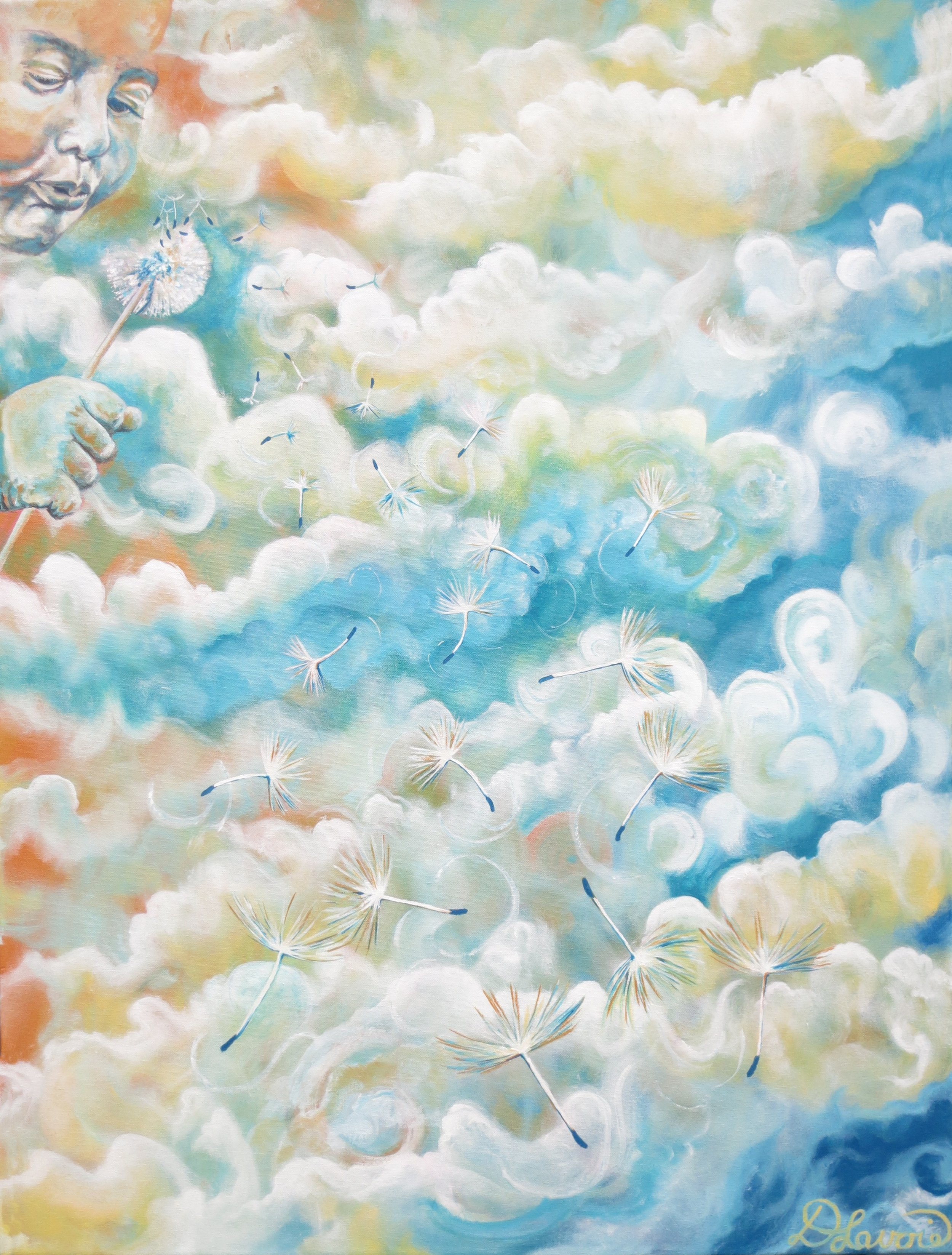"""Youthful Whispers      Acrylic on Canvas - 40"""" x 30""""   Both the original and limited edition prints are available.   The painting, Youthful Whispers, contains an encouraging childhood story line which speaks about the abundance of lessons we can learn from our own inner """"whispers"""". Some of these include the joy of discovery, letting go, and being free. The seeds of the dandelion symbolize all of these whispers - seeded stalks many react to with dismay on pristine green lawns! However, not to be feared but seen in a more positive light, just like ourselves. Welcome the deeper message dandelions and their """"offspring""""bring."""