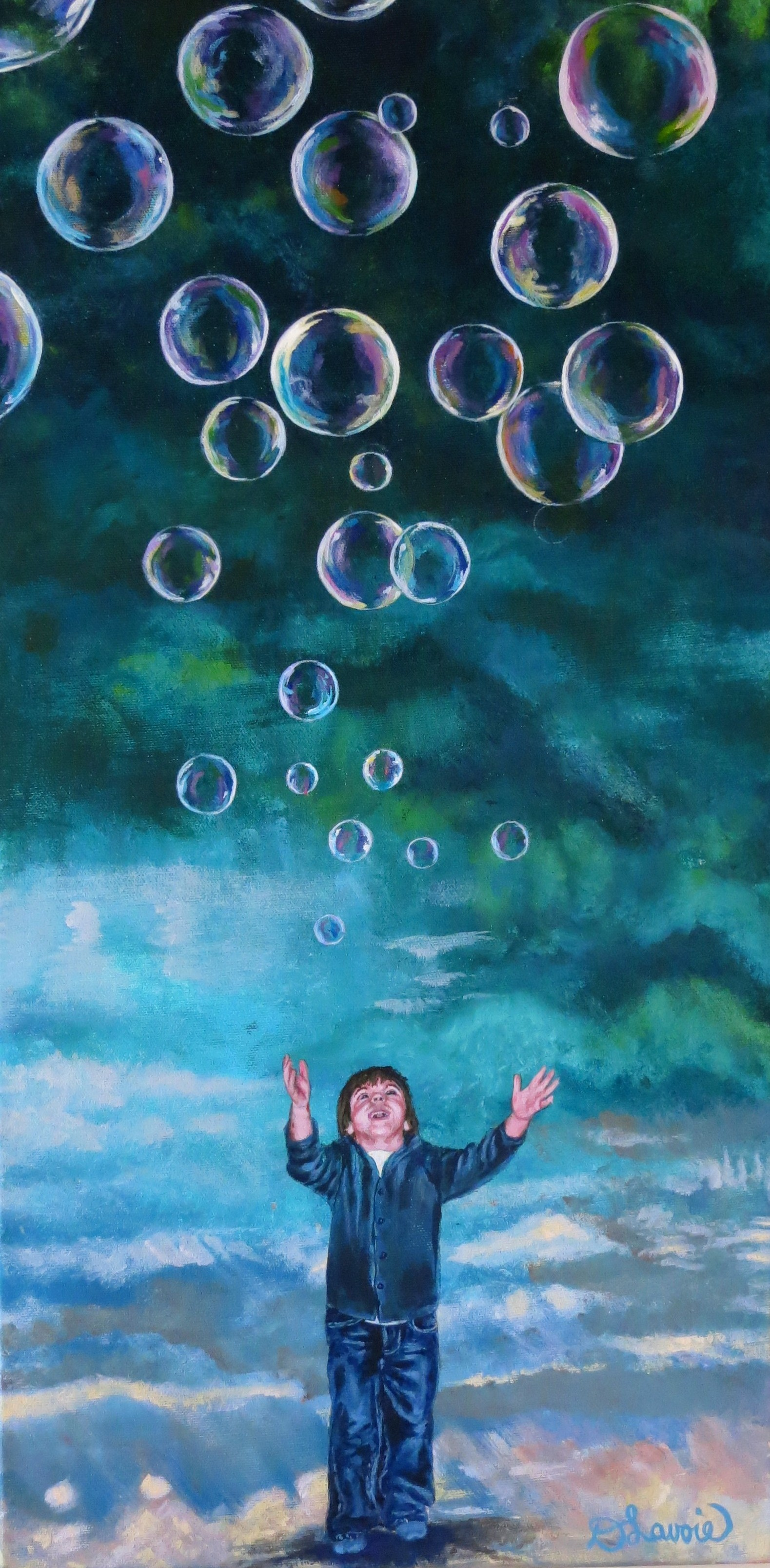 """Worlds         Acrylic on Canvas - 24"""" x 12""""    Both the original and limited edition prints are available.   A child may seem small in our world, but through their eyes, are endless and vast worlds full of magnificent possibilities."""