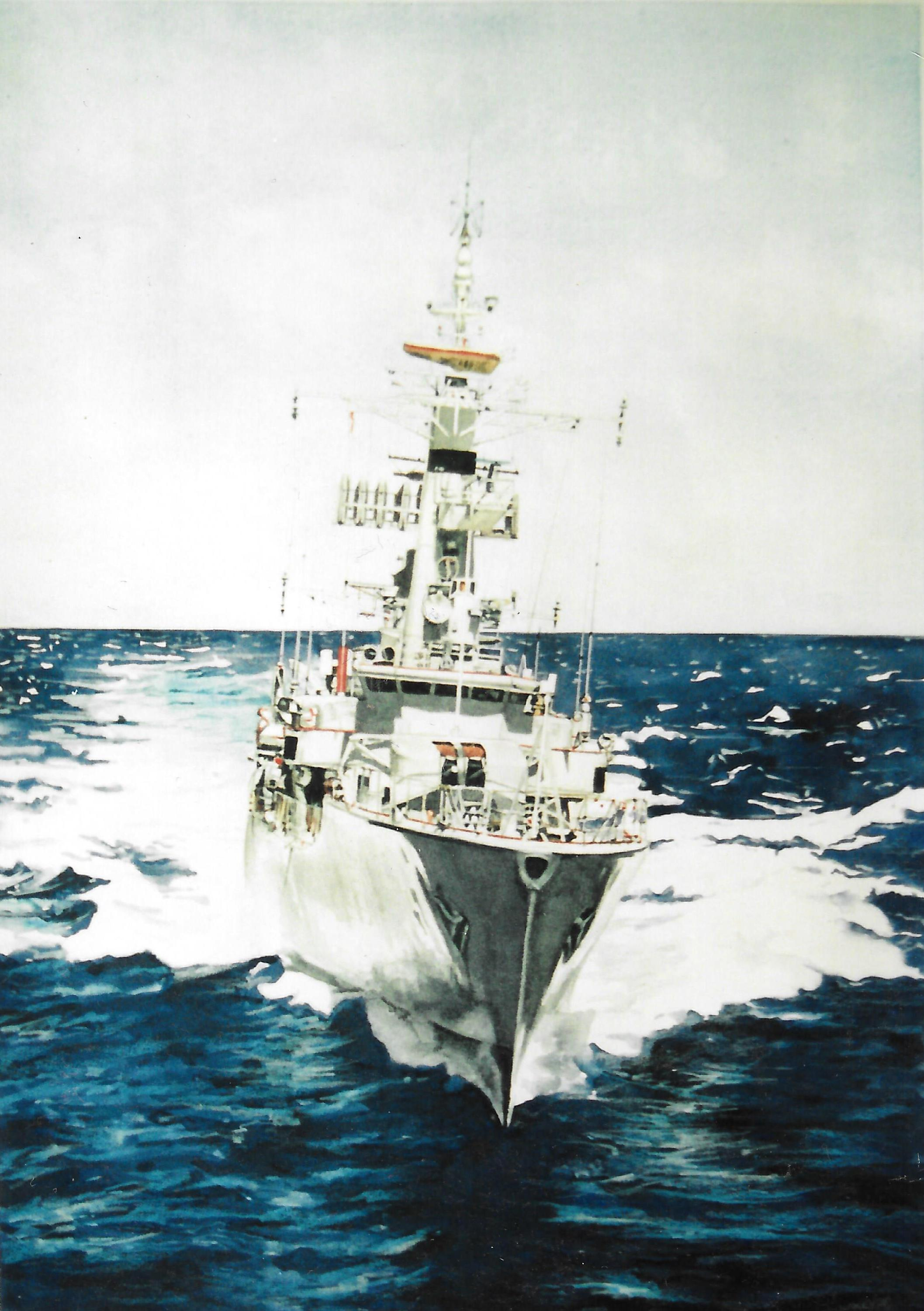 The Waikato   Watercolour on paper   A   vailable in two sizes as a limited edition print    on paper.   The painting depicts the Royal New Zealand Navy's (RNZN) ship, the HMNZS  Waikato  (F55) that was a Leander Batch 2TA frigate. Beginning its service in 1966, HMNZS  Waikato  was decommissioned from the RNZN in 1998 and sunk off the coast of Tutukaka New Zealand on 18 December 2000 as an artificial reef.  My husband served on the Waikato in the RNZN before we met.
