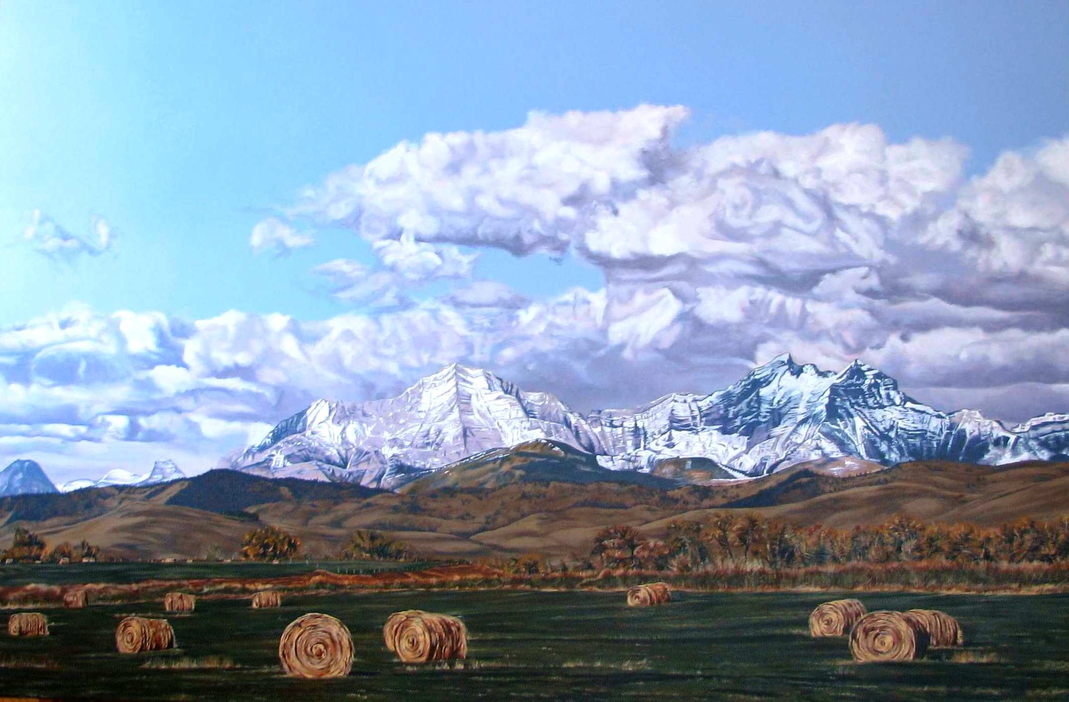 hay bales under the highwood range - Acrylic on Canvas -40