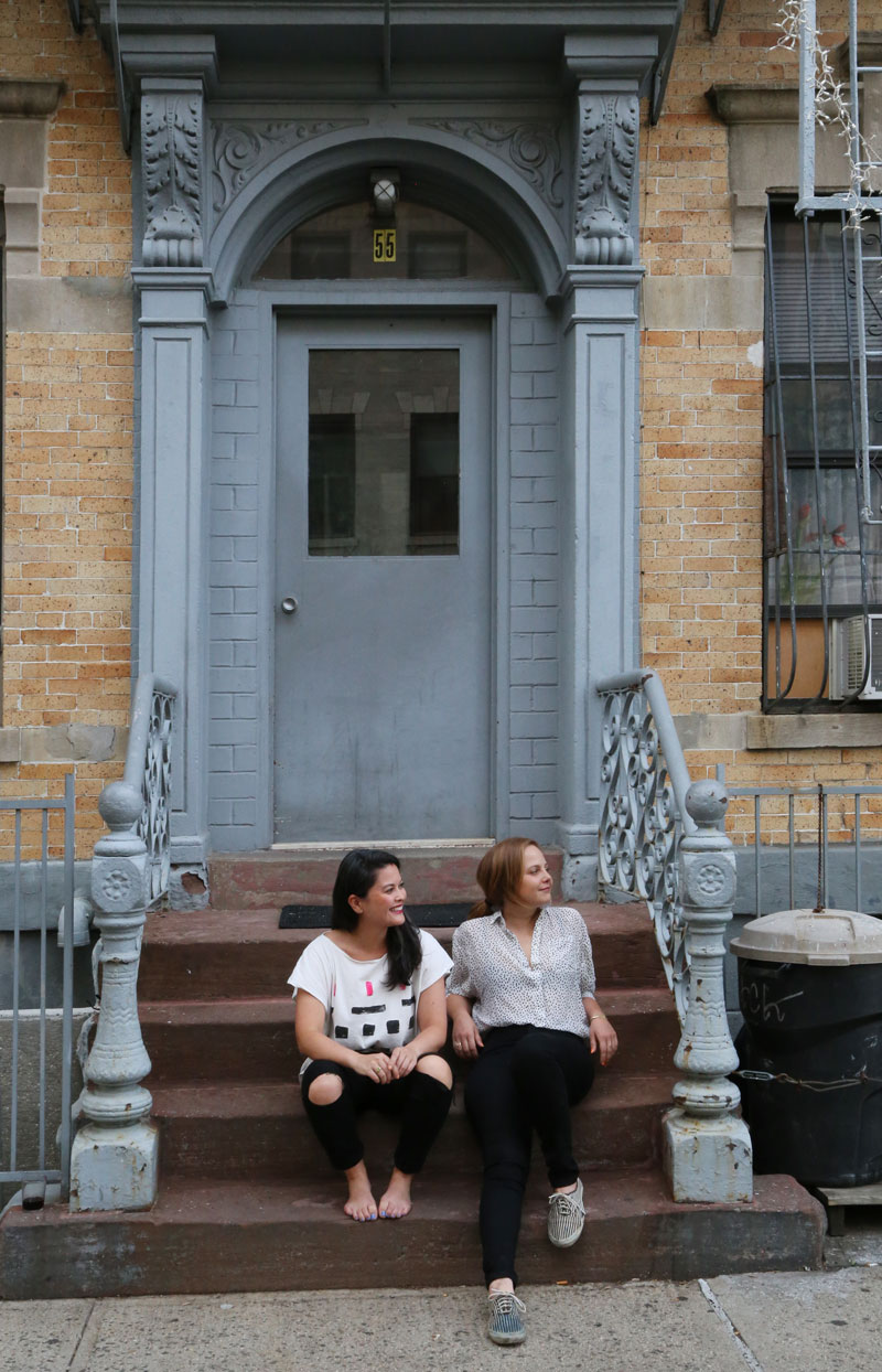 Living in the Greenpoint neighborhood of Brooklyn keeps things both convenient and exciting. Trish's studio is just a few blocks away and Victoria (seated on the left) has an easy commute into midtown. Most importantly many of their friends live right around the corner, they all get together frequently taking advantage of all the great bars and restaurants in the area.